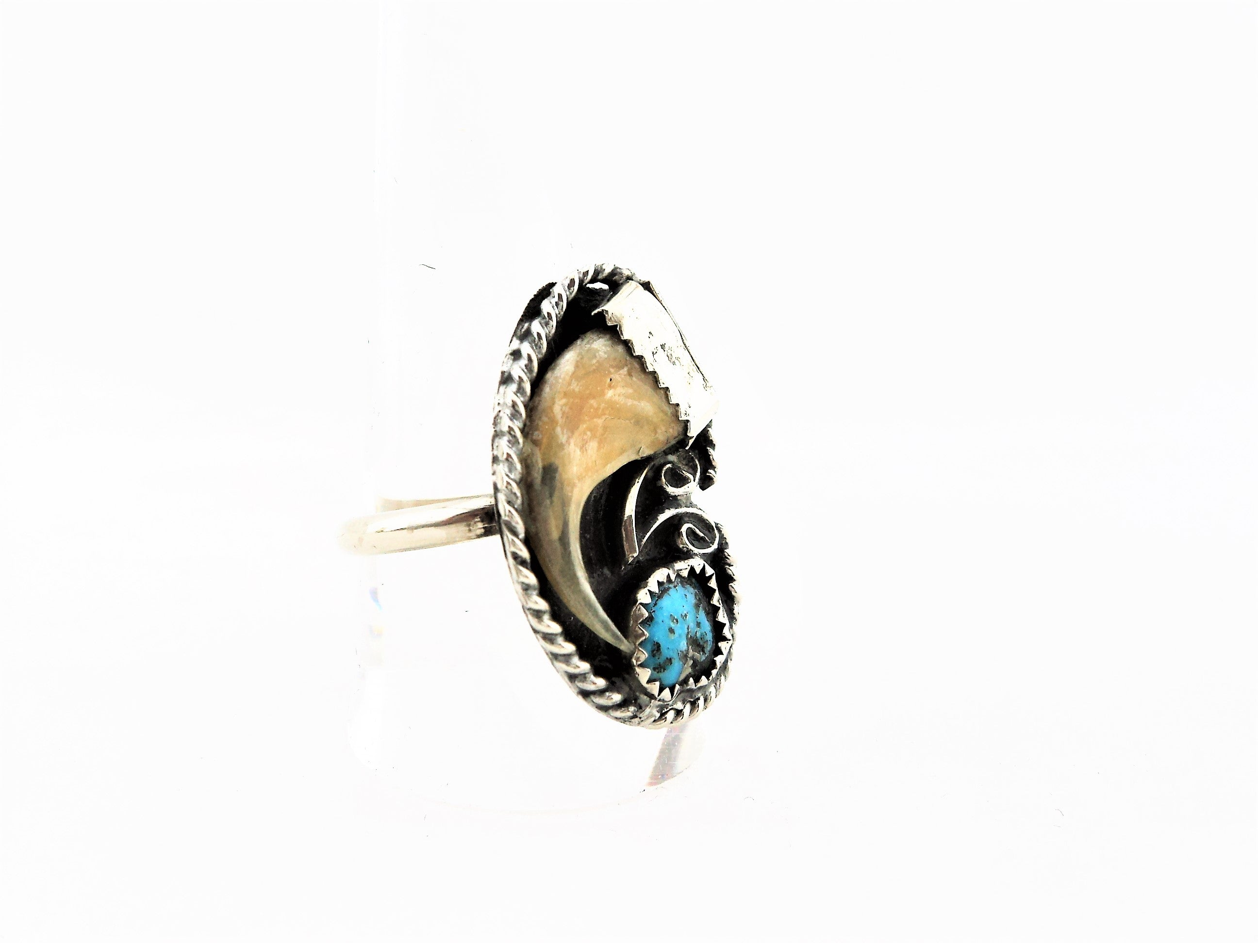 Silver Ring with Animal Claw and Turquoise