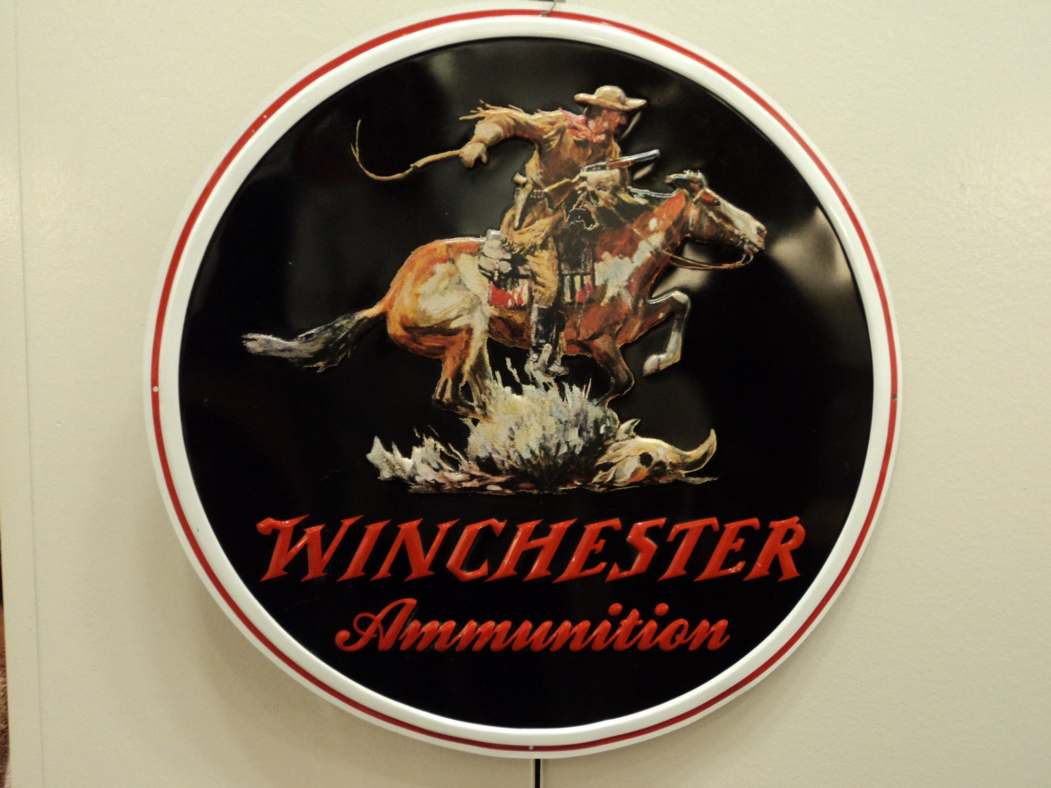 Winchester Horse Rider Tin Sign