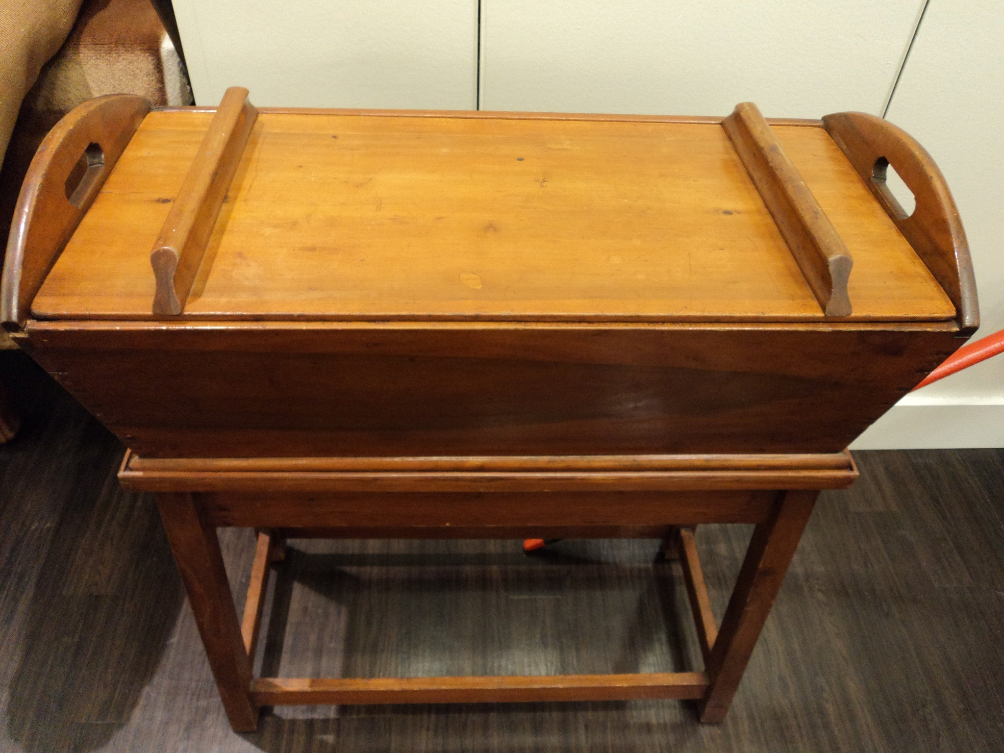 19th C. Early American Pine Wood Dough Box with Stand