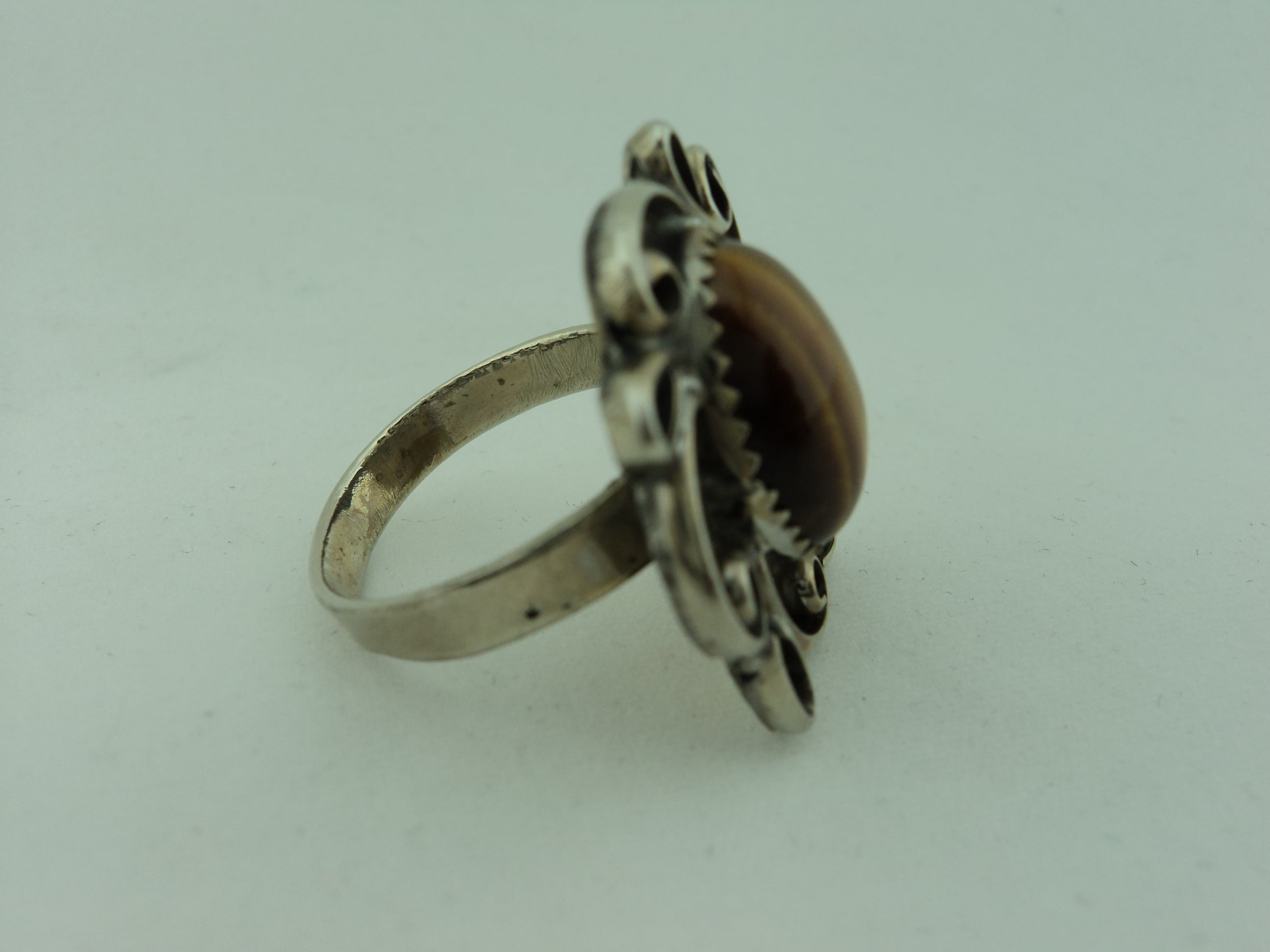 Vintage 800 Silver and Tiger's Eye Ring