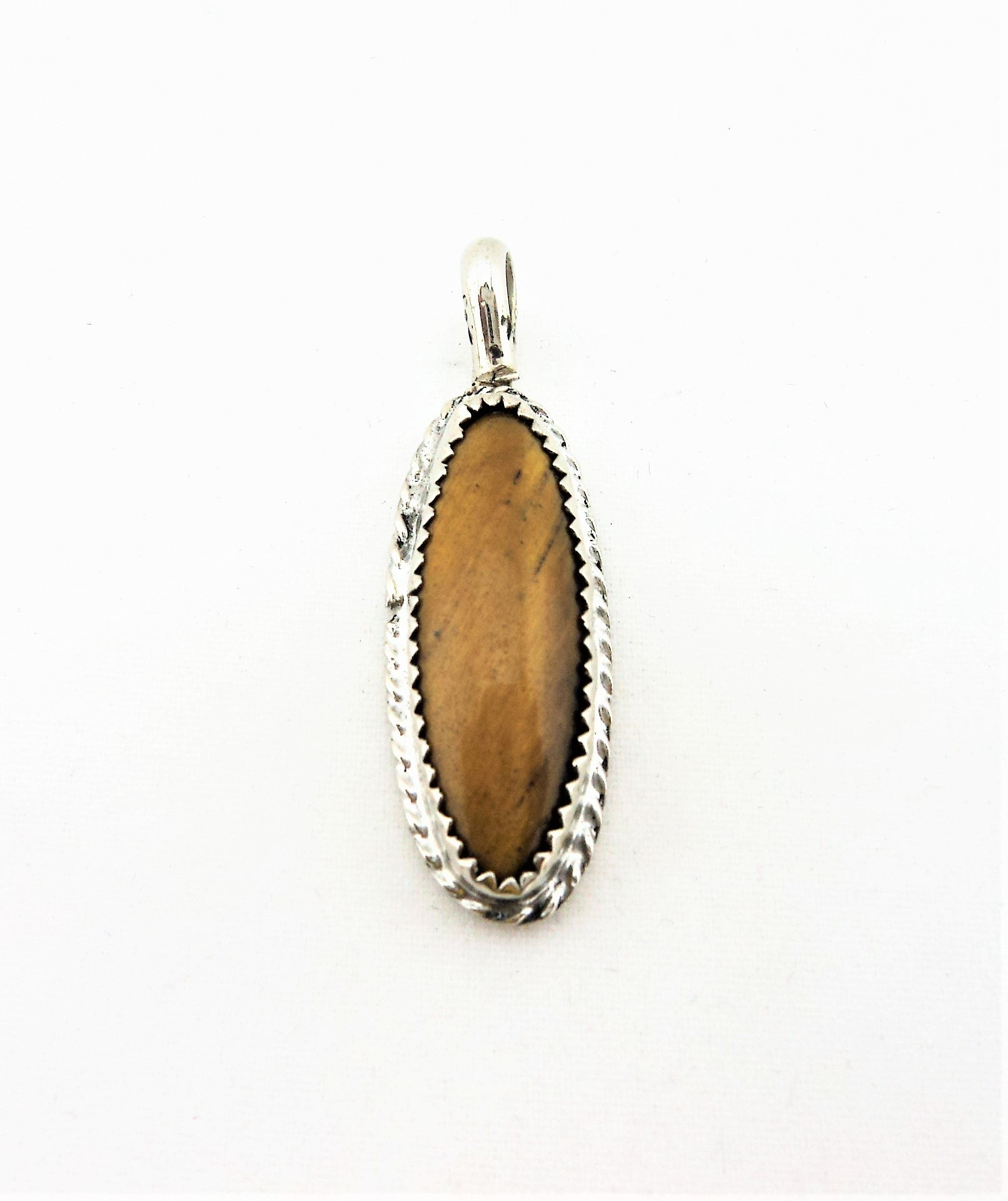 Vintage 800 Silver and Tiger Eye Pendant