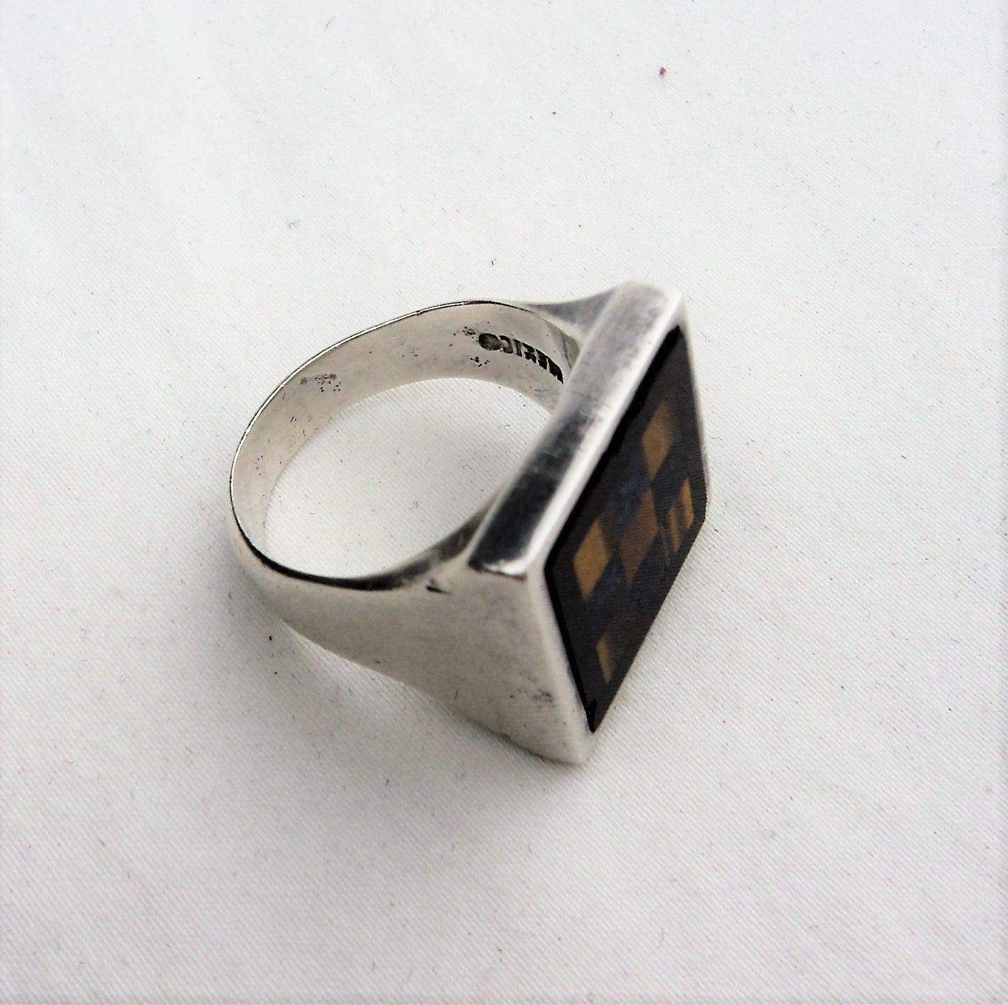 Sterling Silver Tiger Eye and Lapiz Man's Ring