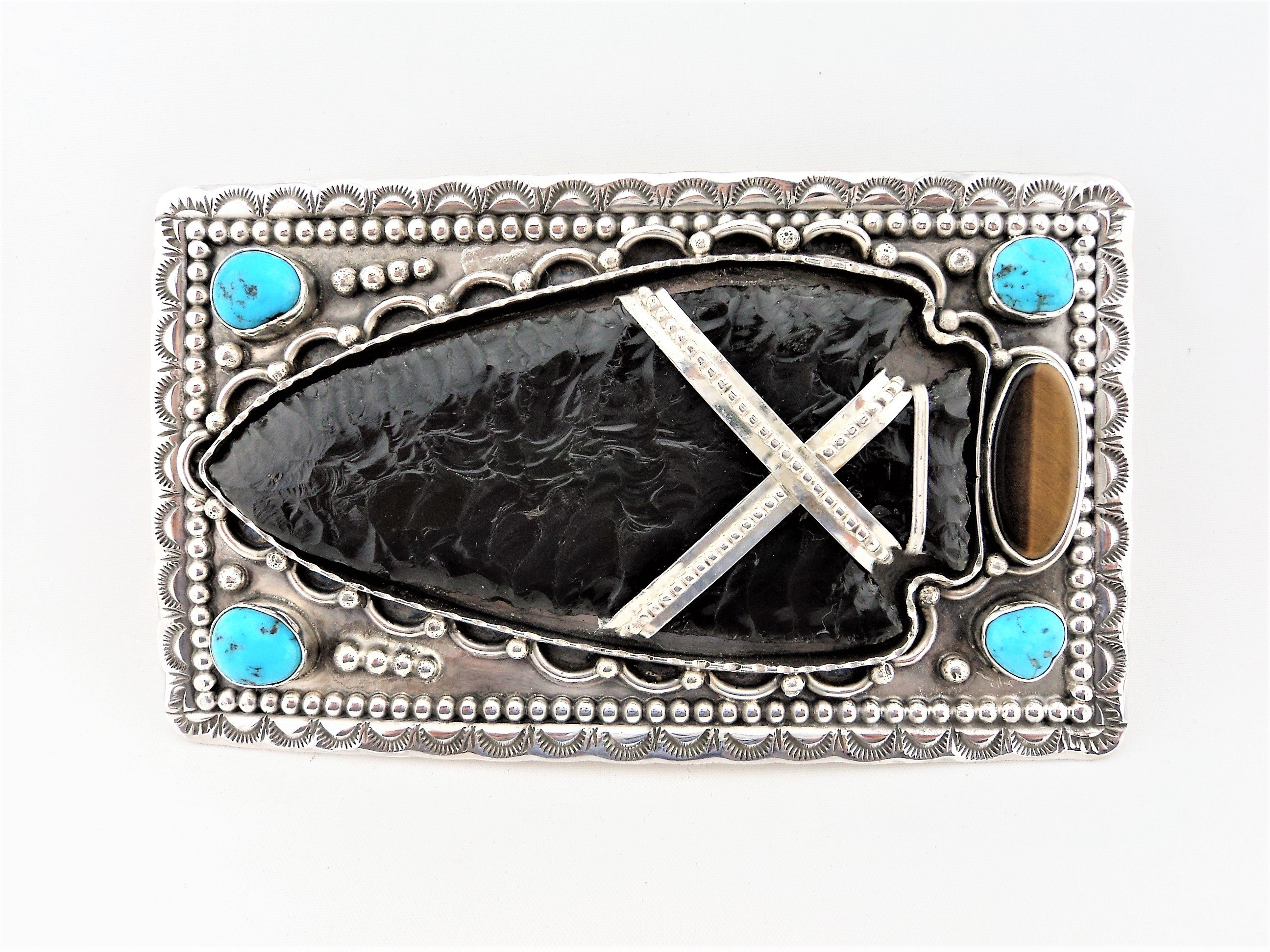 Native American Obsidian Arrowhead and Sterling Silver Belt Buckle