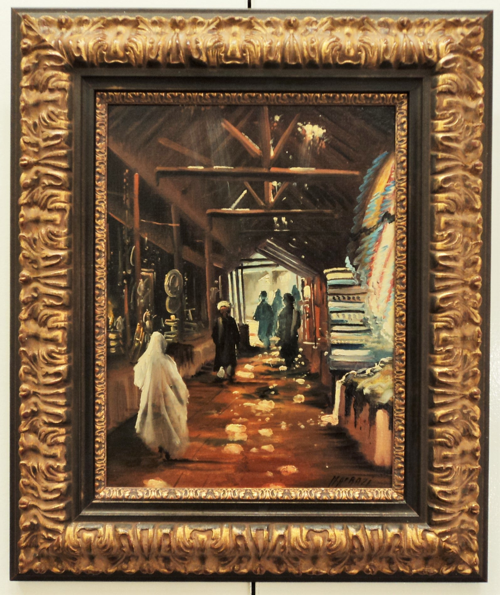 M.H. Frazi Bazaar Scene Oil on Canvas
