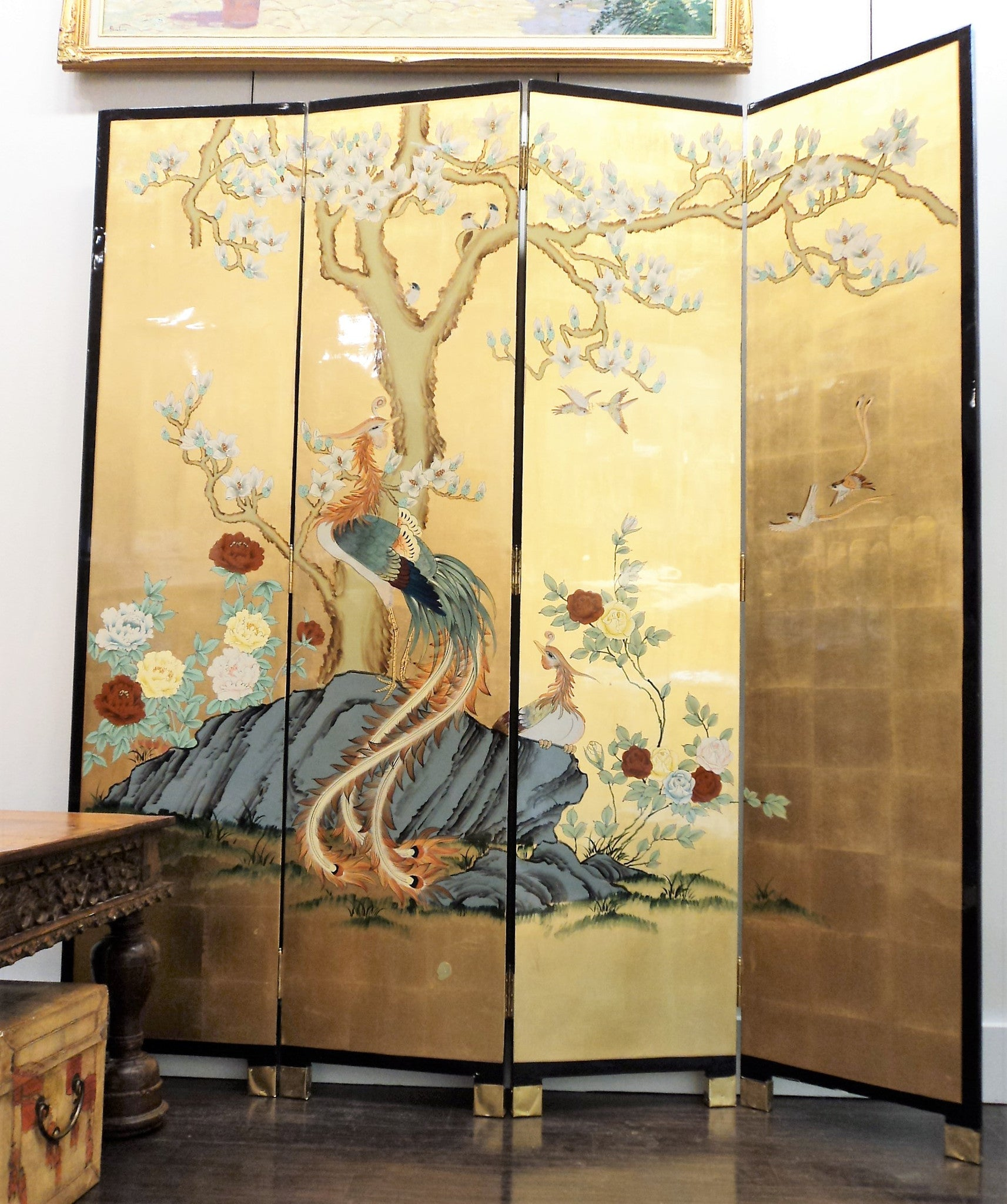 Old Vintage Wooden Gold Lacquer Four-Panel Coromandel Screen