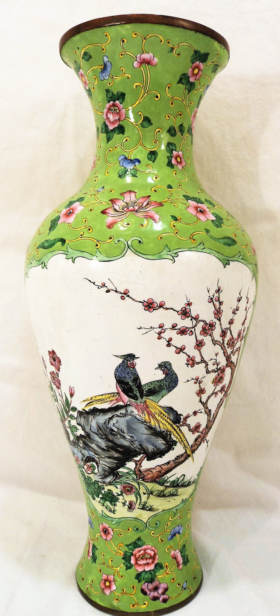 Canton Enamel On Copper Peacock Vase Pair