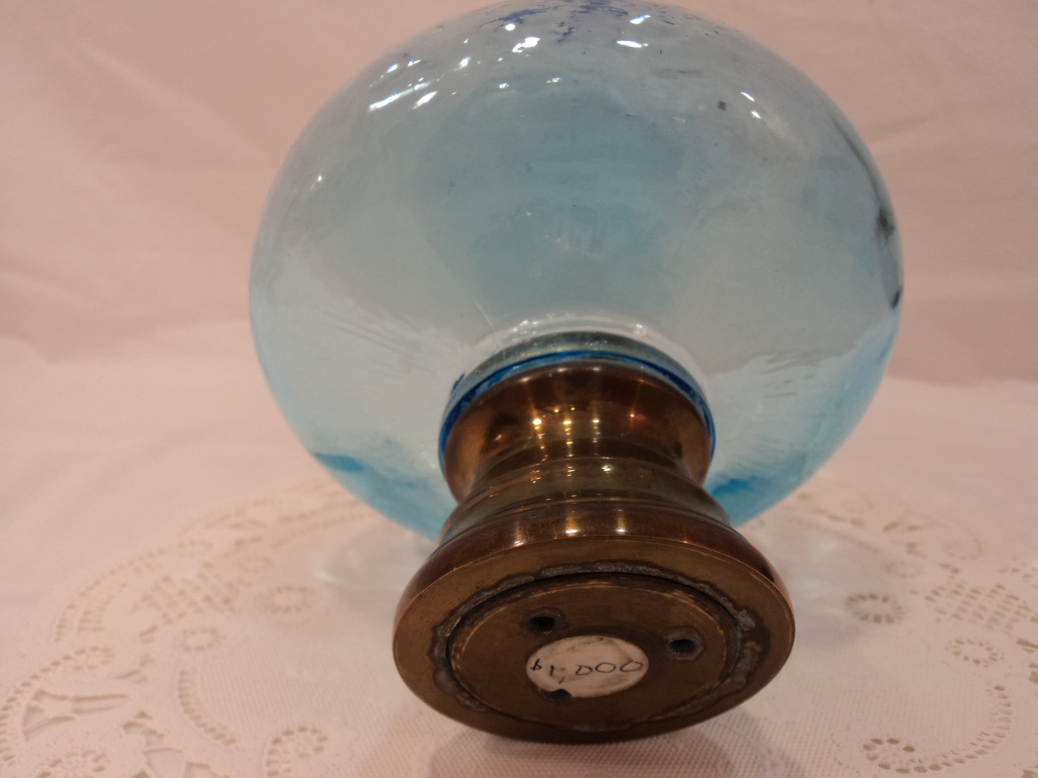 20th C. Victorian Hand Blown Glass Staircase Newel