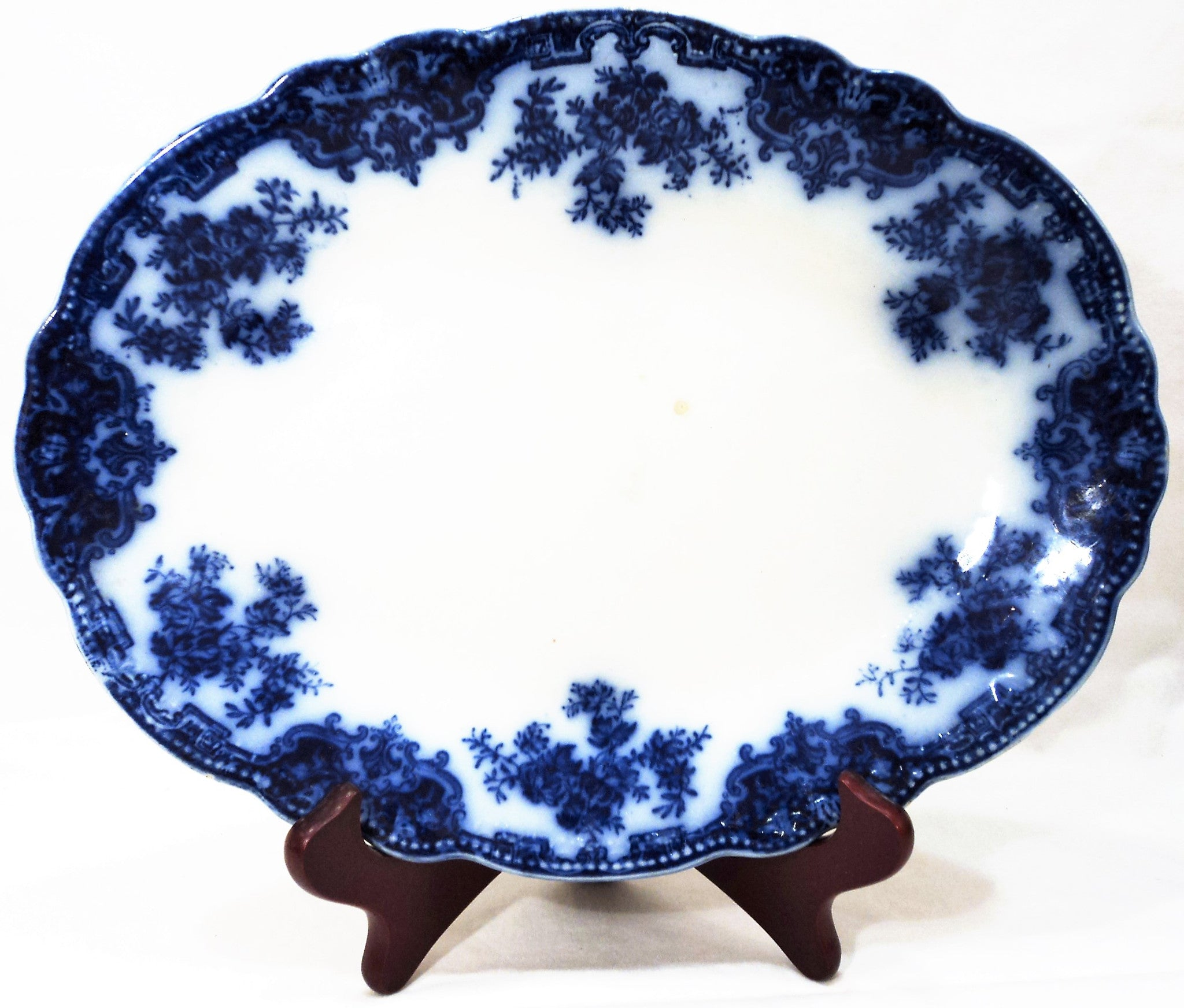 Antique Flow Blue Oval Dish