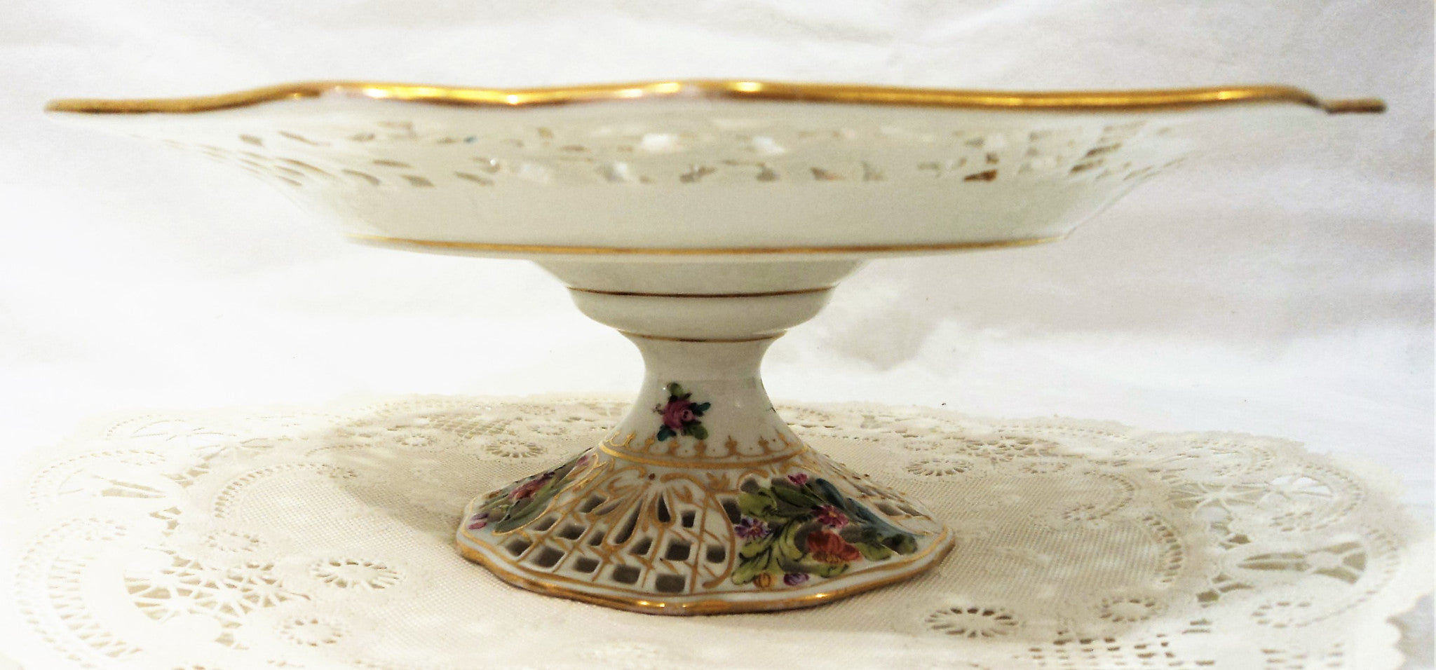 Dresden Reticulated Footed Compote Dish Pair