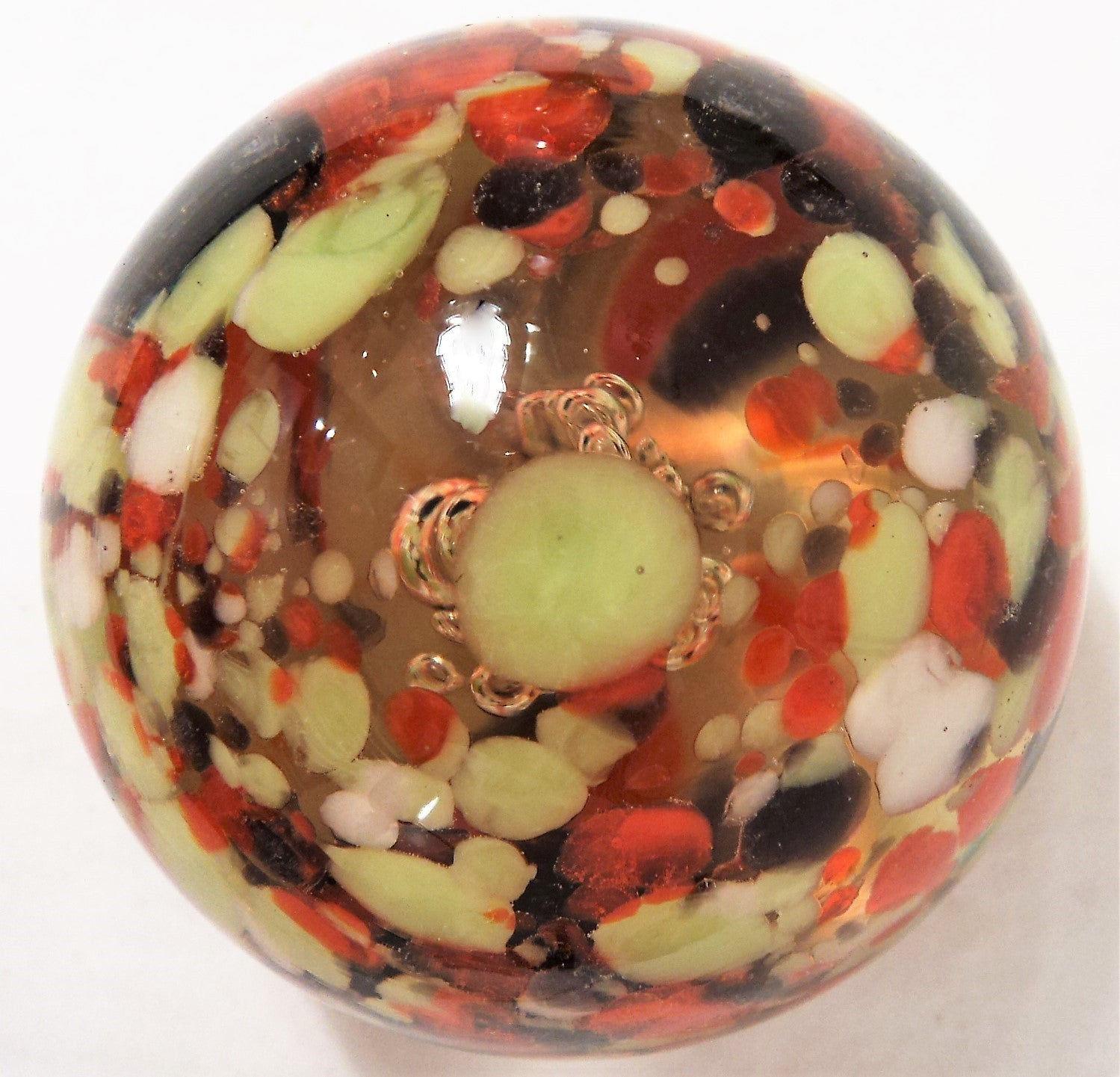 Control-Bubble Vintage Art Glass Paperweight