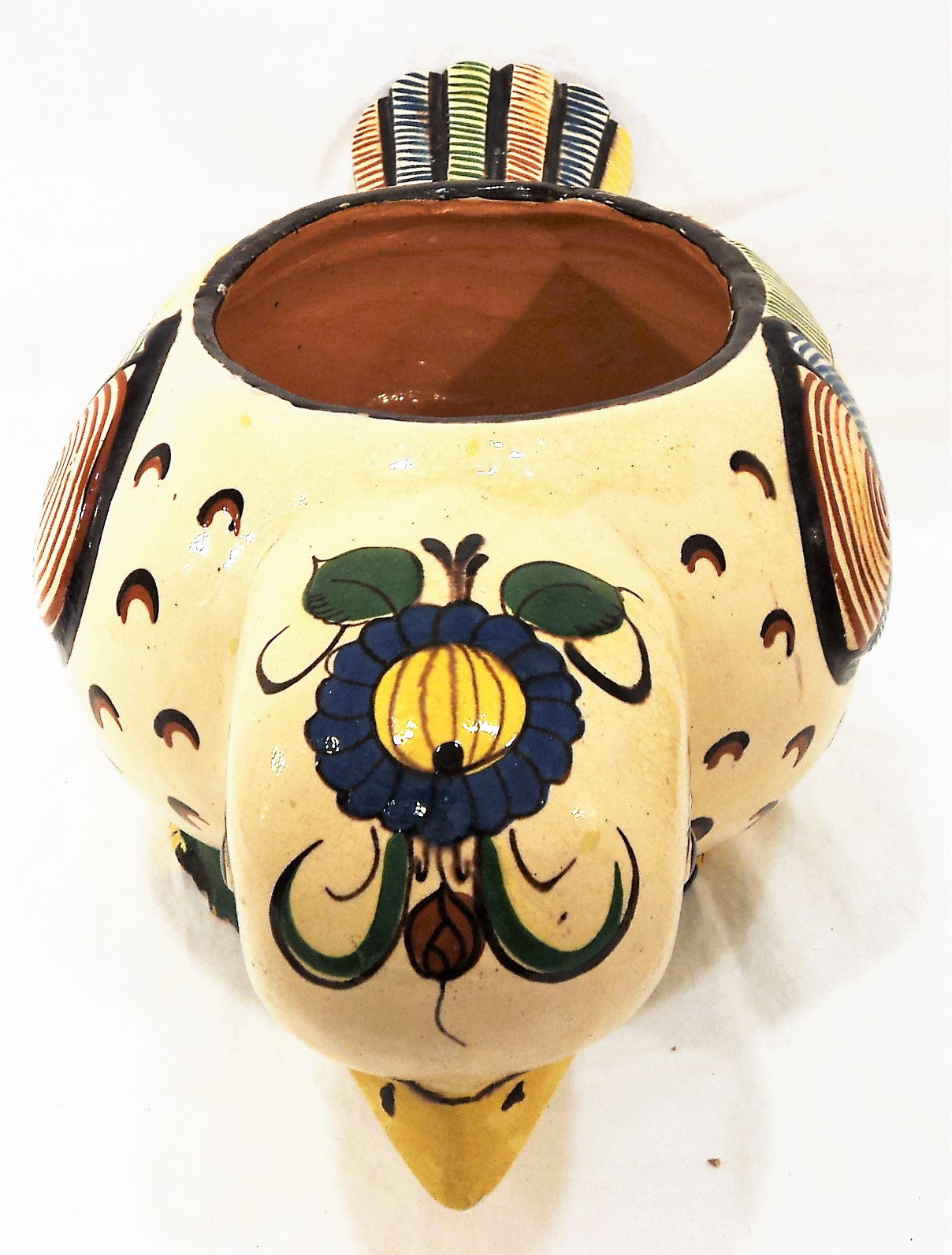 Vintage Mexican Clay Bird Vessel