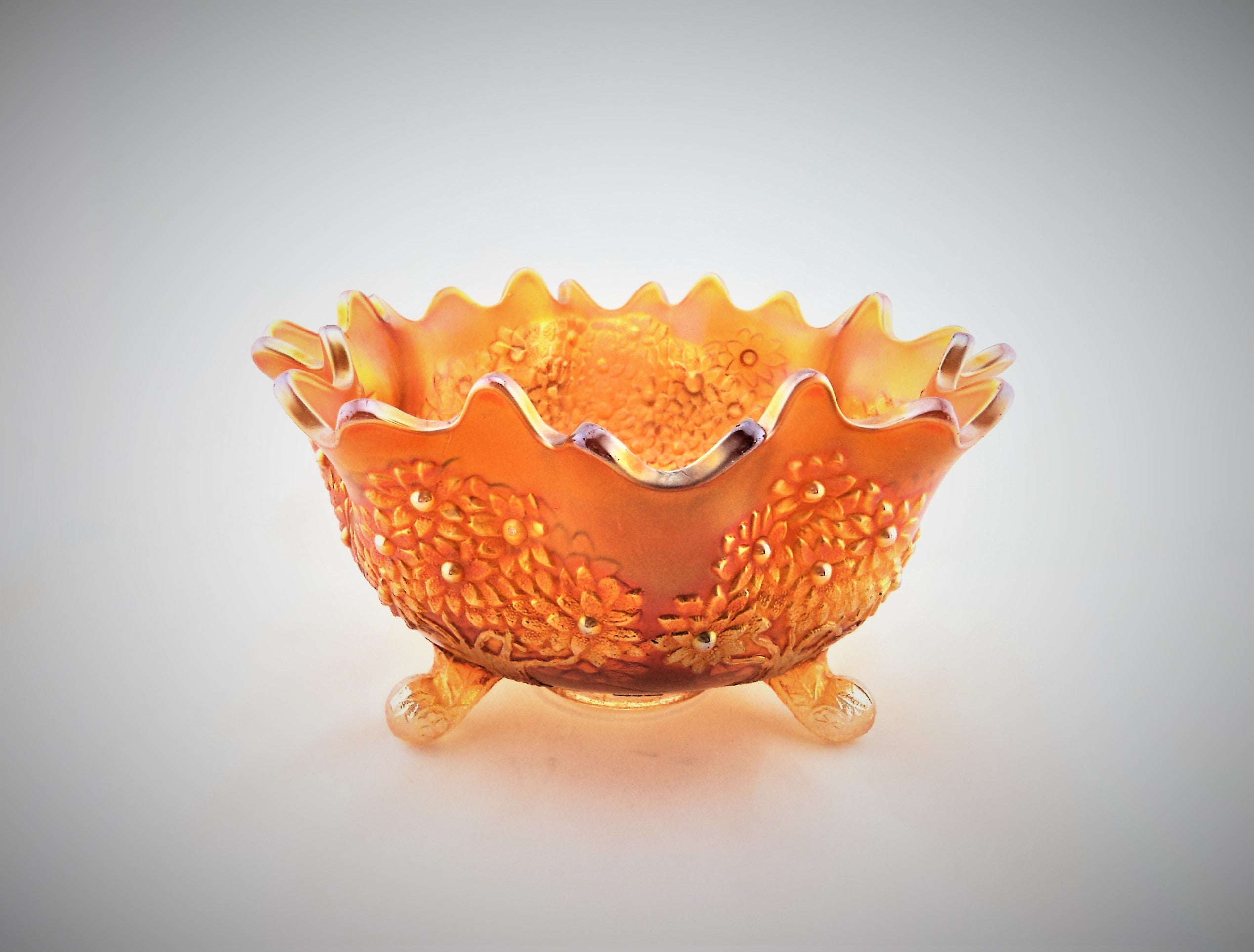 1915 Fenton Footed Orange Tree Fruit Bowl