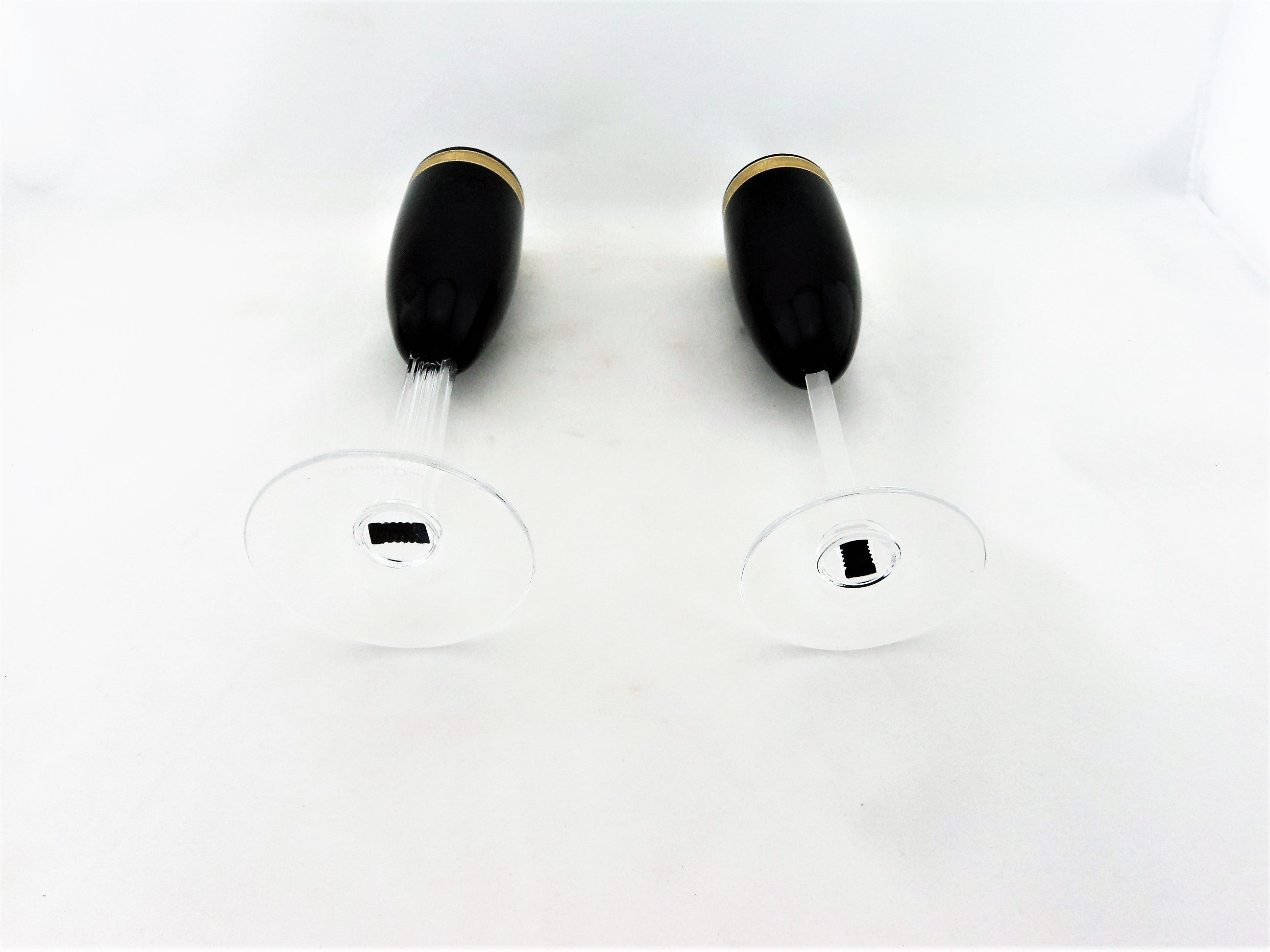Christian Dior Black Crystal Champagne Flute Pair