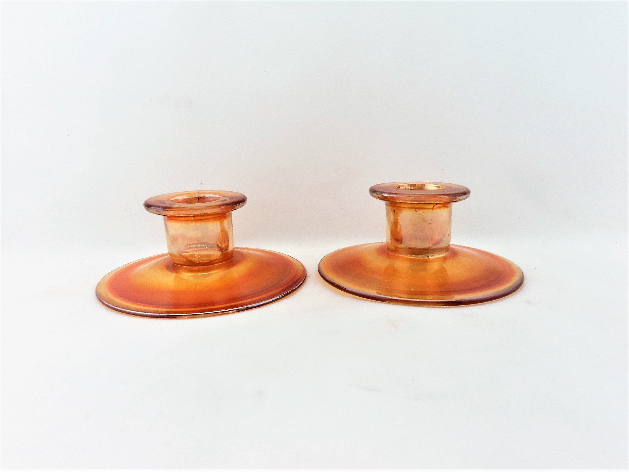 Vintage Carnival Glass Candle Holder Pair