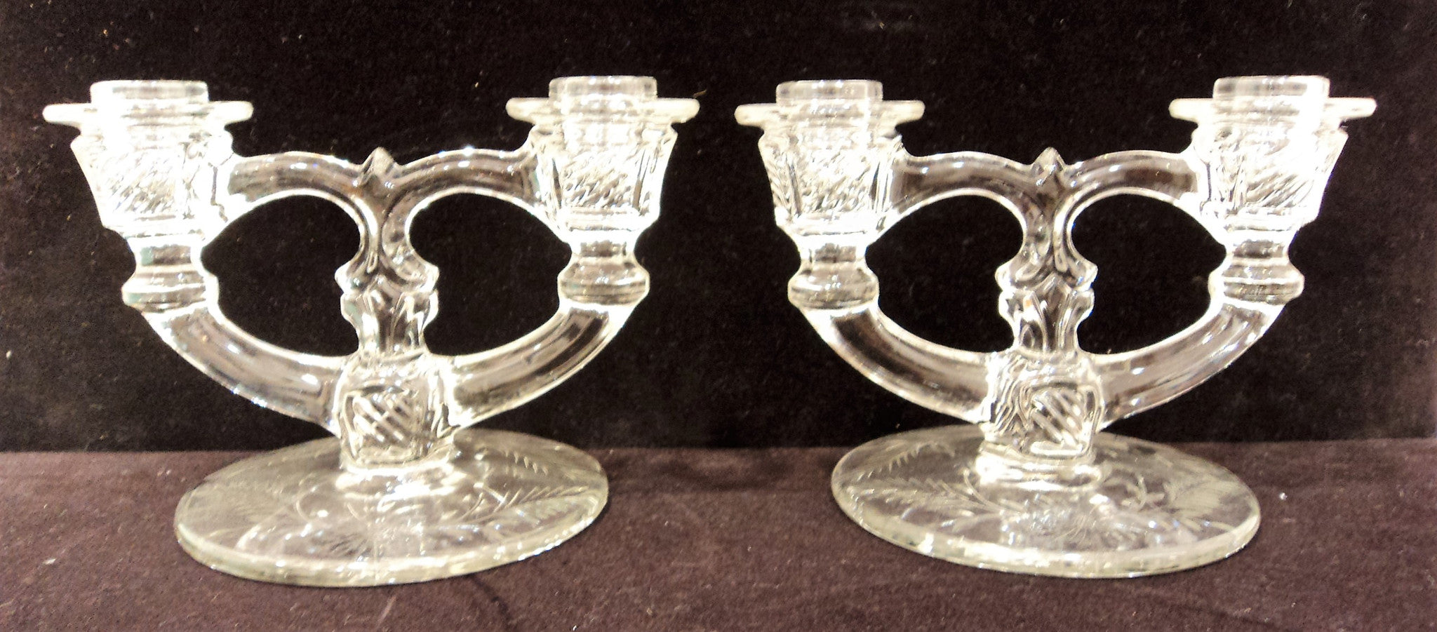 Vintage Pressed Glass Candelabra Pair