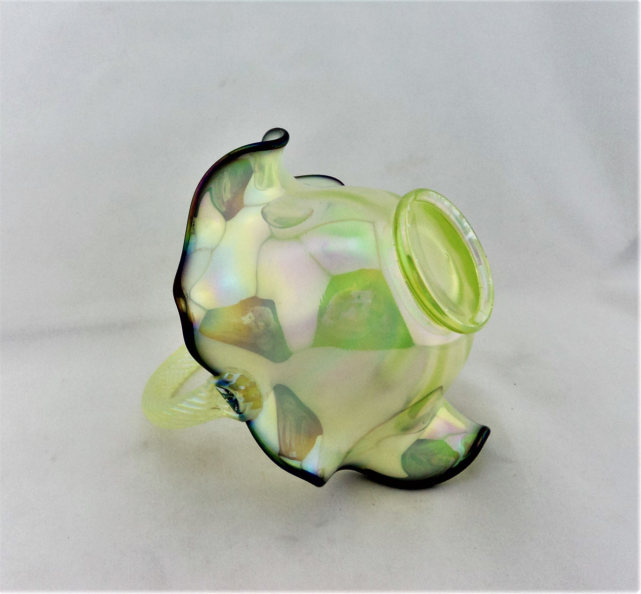 Fenton Green Iridescent Basket
