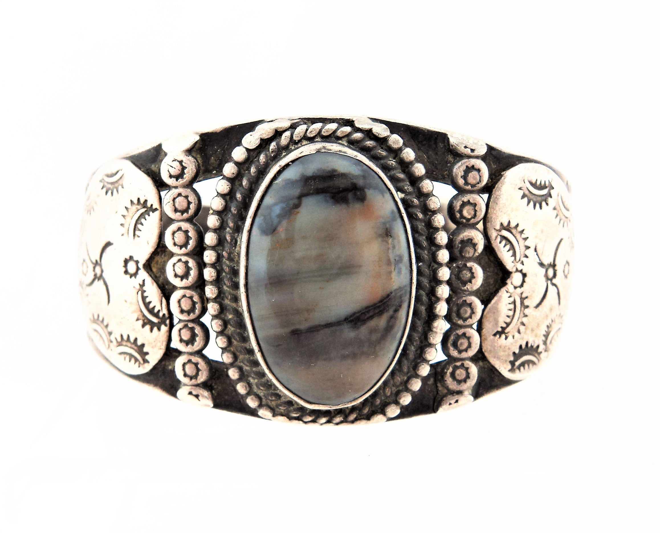 Antique Navajo Sterling Silver and Petrified Wood Bracelet
