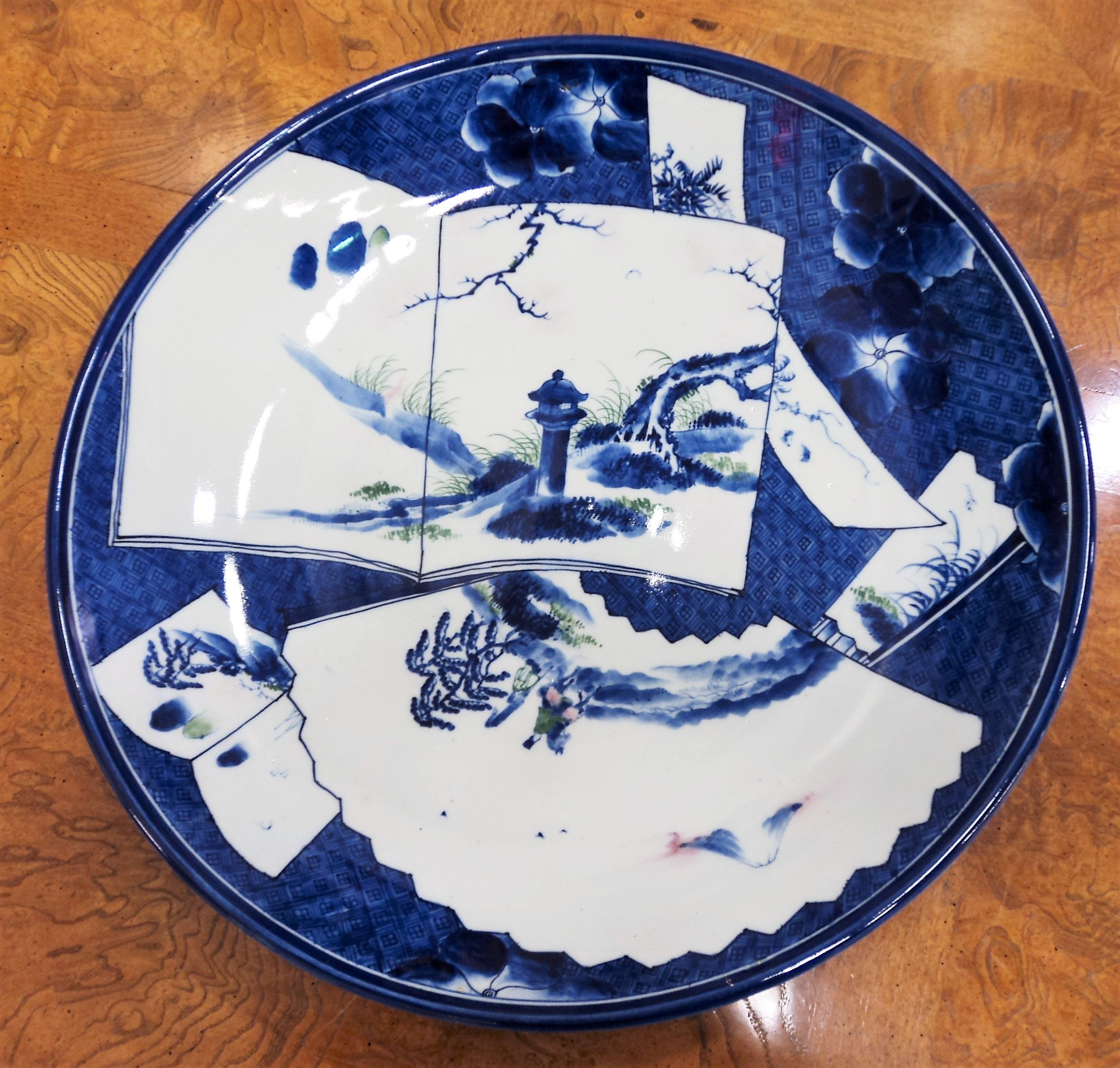 20th C. Japanese Porcelain Charger with Landscape