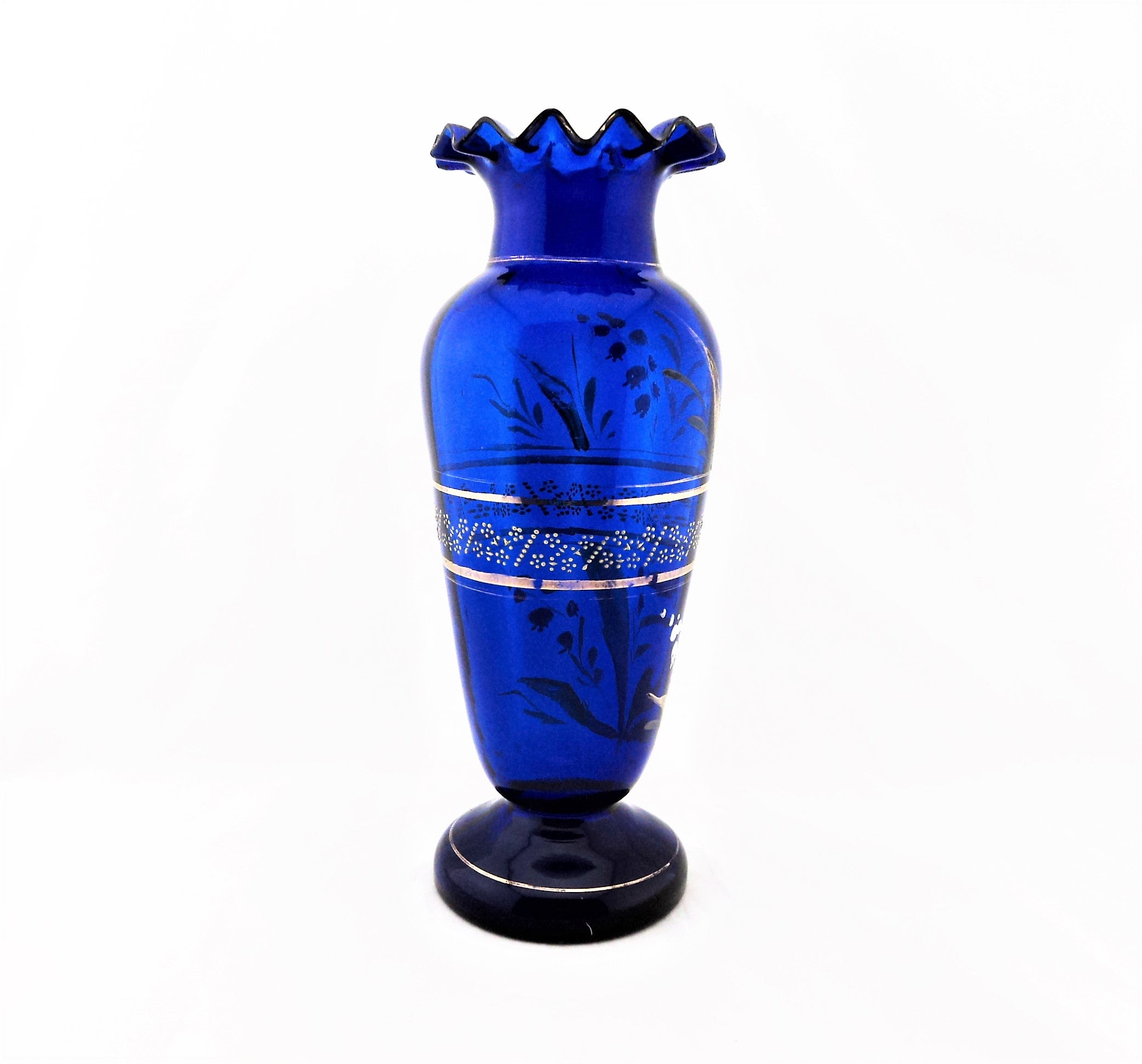 Victorian Cobalt Blue and Enamel Vase