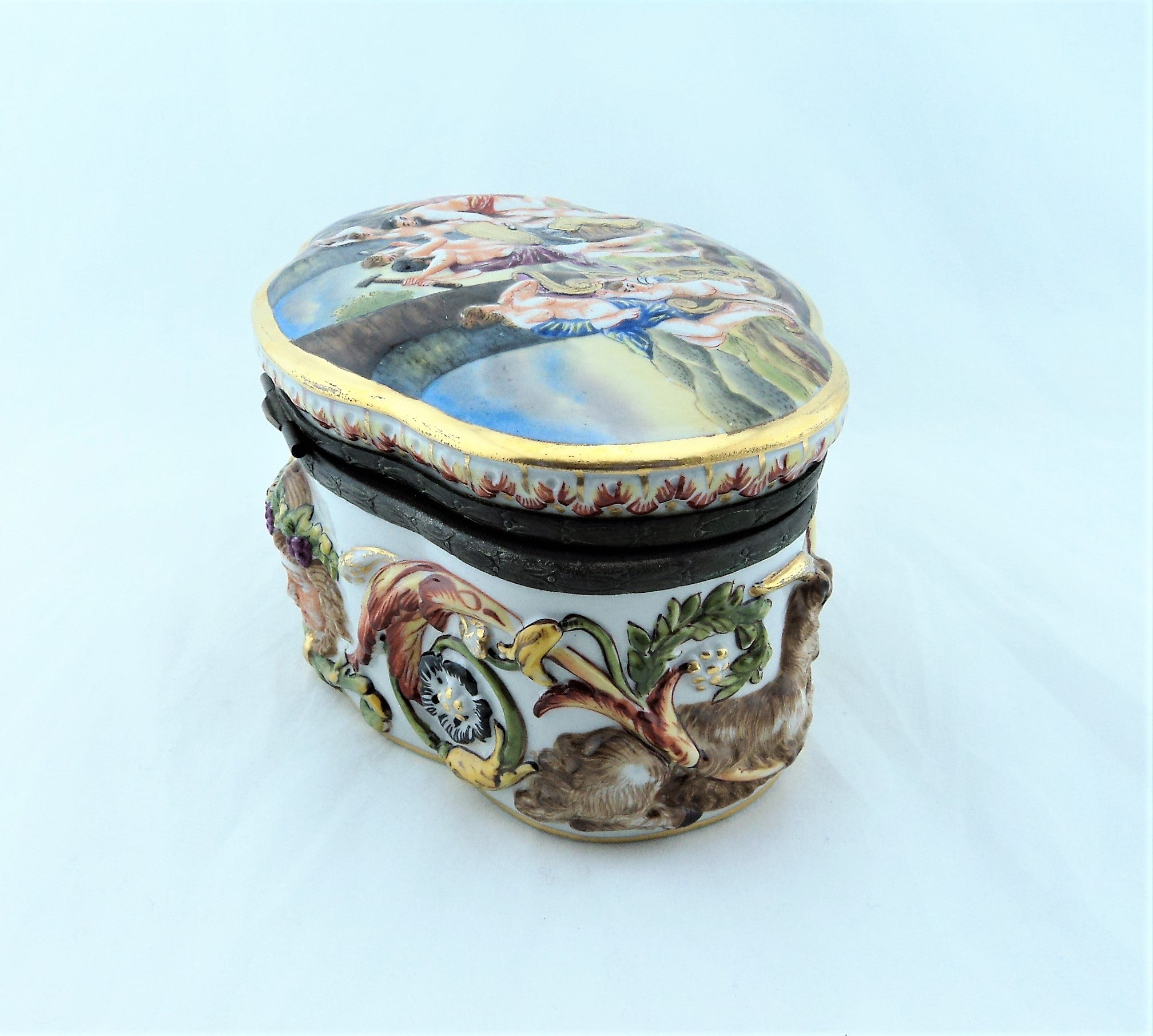 Antique Capodimonte Porcelain Dresser Box