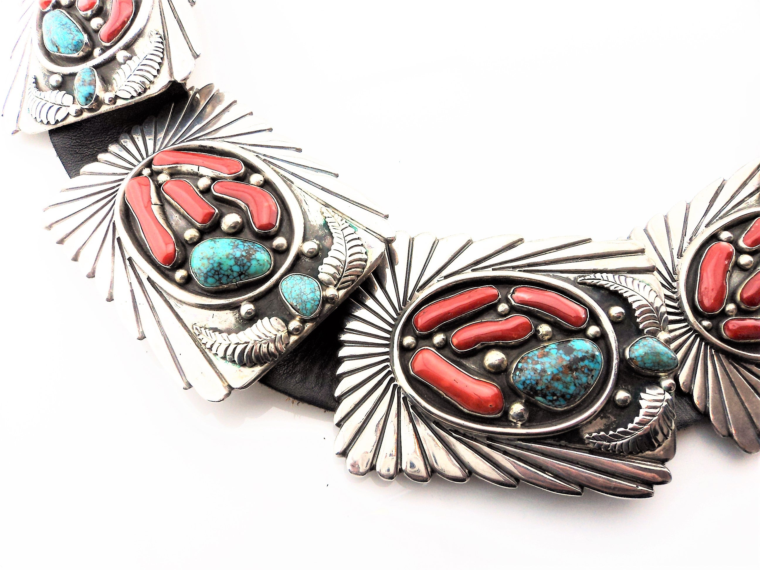 Abraham Begay Mediterranean Coral, Turquoise and Sterling Concho Belt
