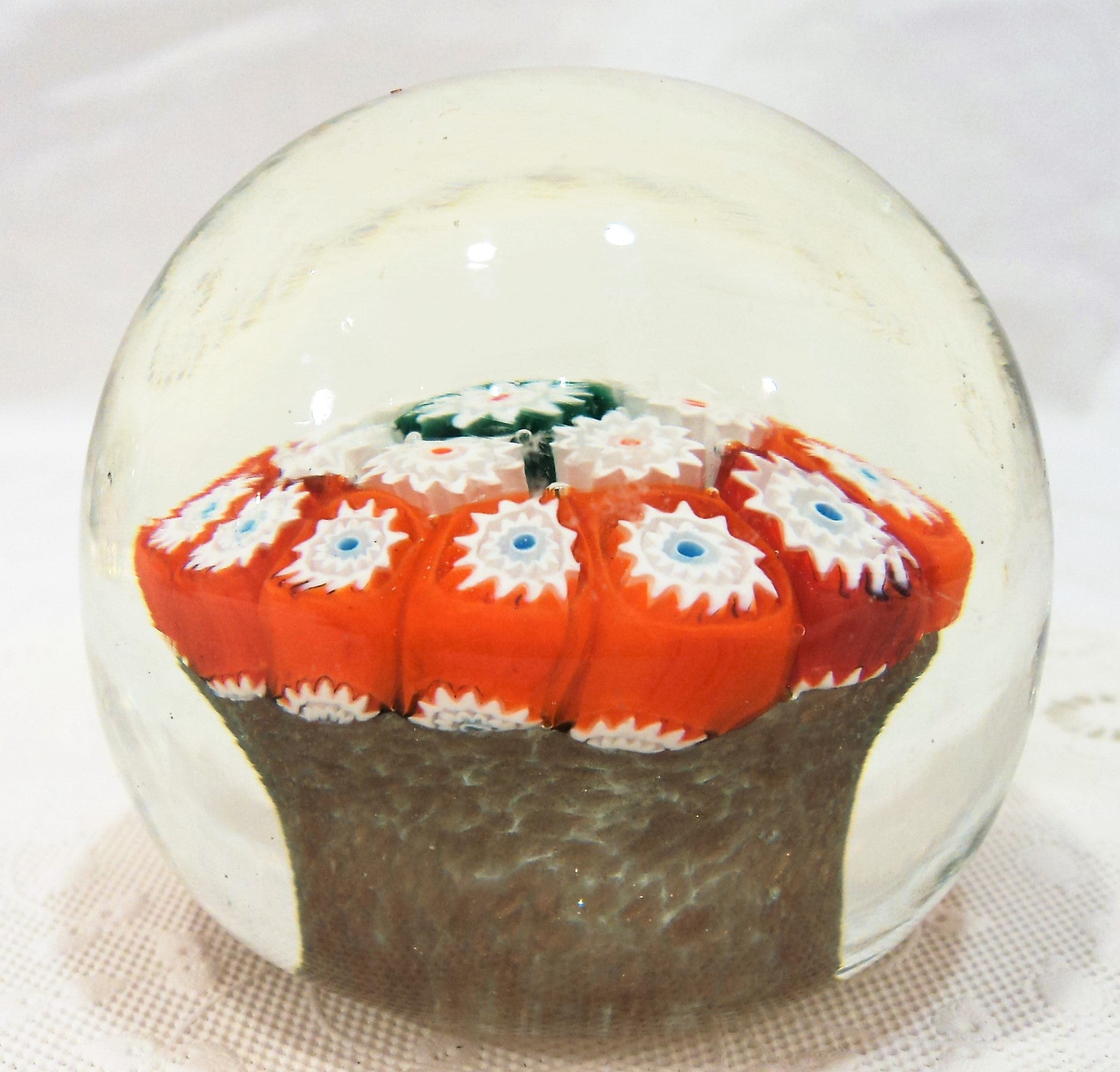 Millefiori Cane Glass Paperweight