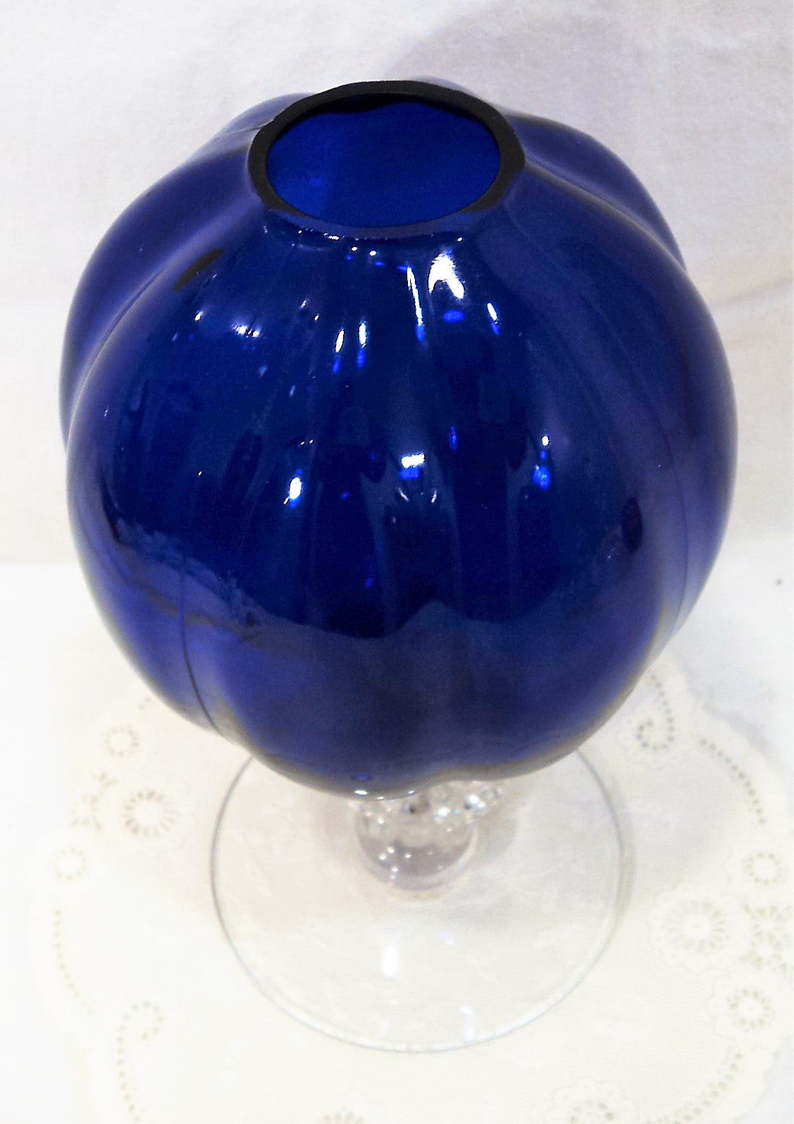Vintage Cambridge Glass Cobalt Blue Ivy Bowl Vase