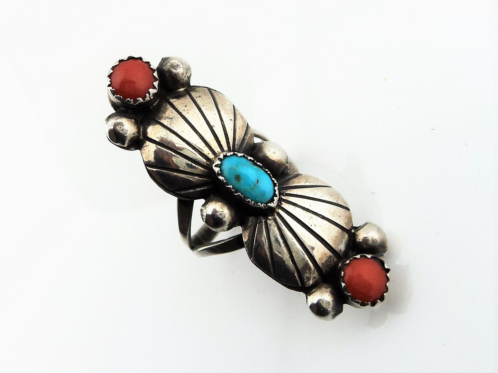 Native American Sterling turquoise and Coral Ring