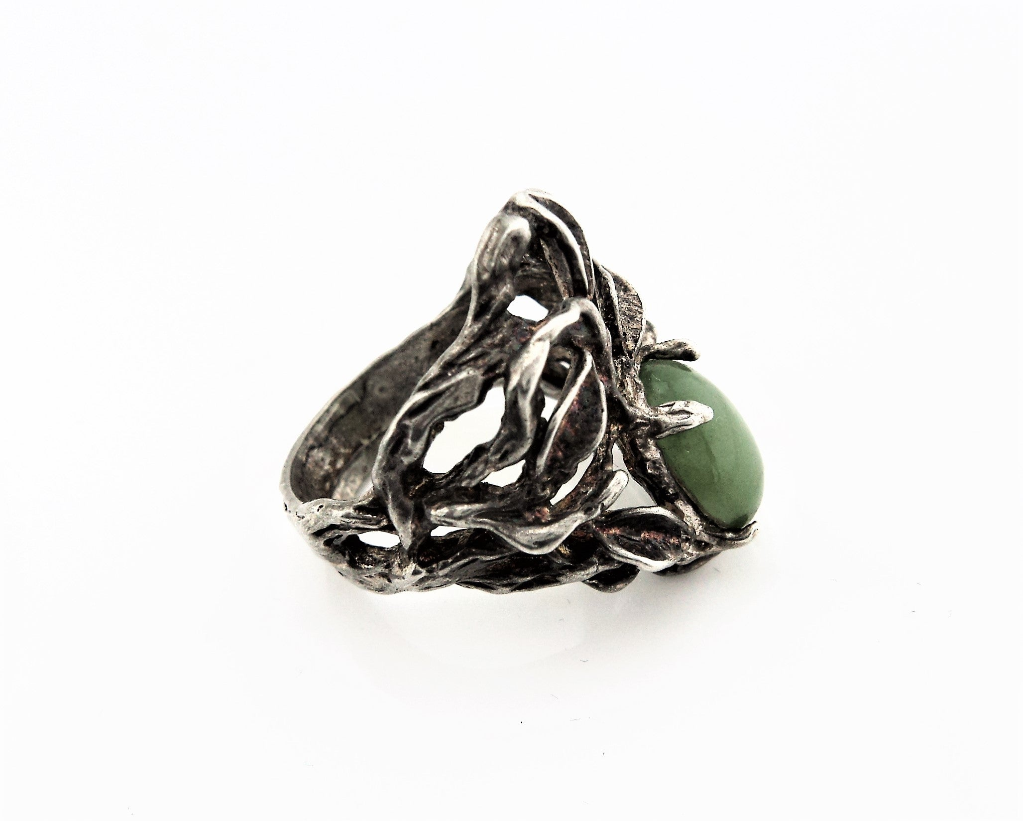 Sand Cast Sterling Silver and Jade Ring
