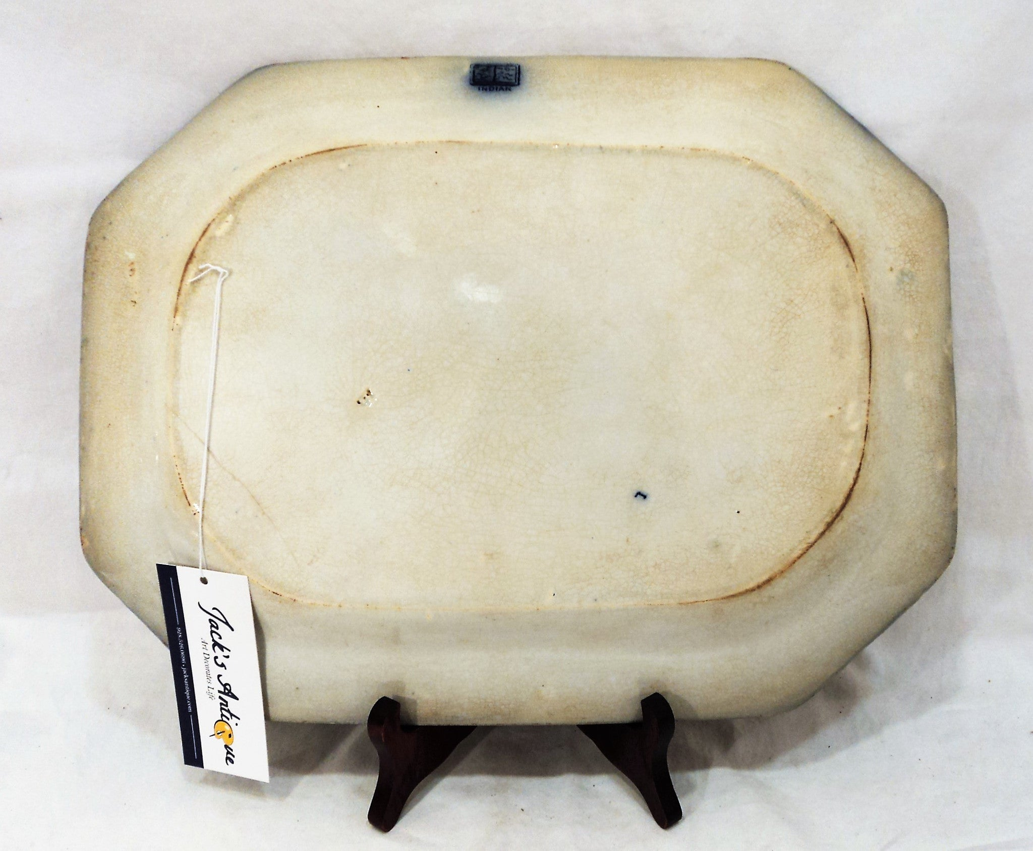 1860s Antique Flow Blue Octagonal Platter