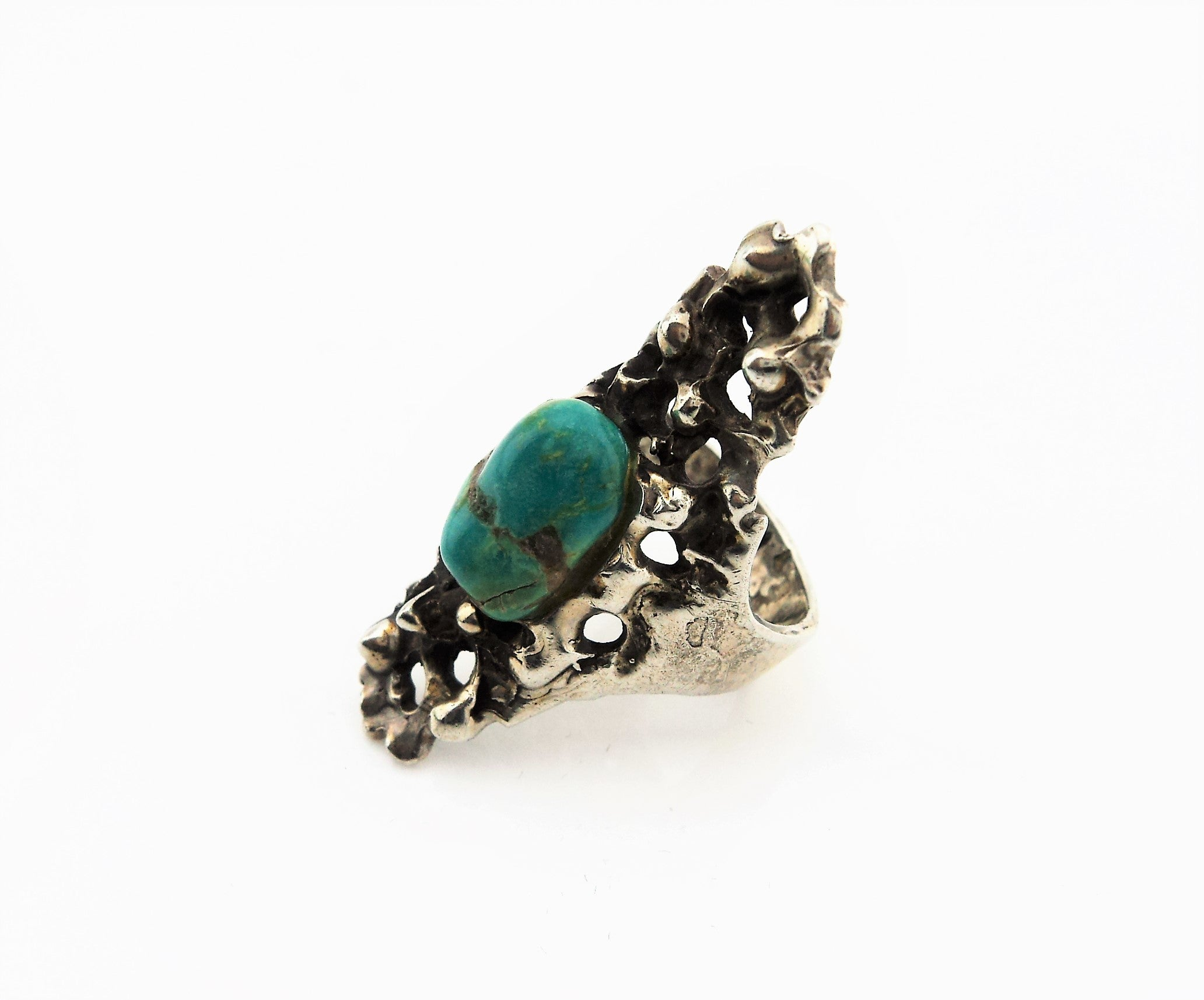 Sand Cast Sterling Silver Turquoise Ring