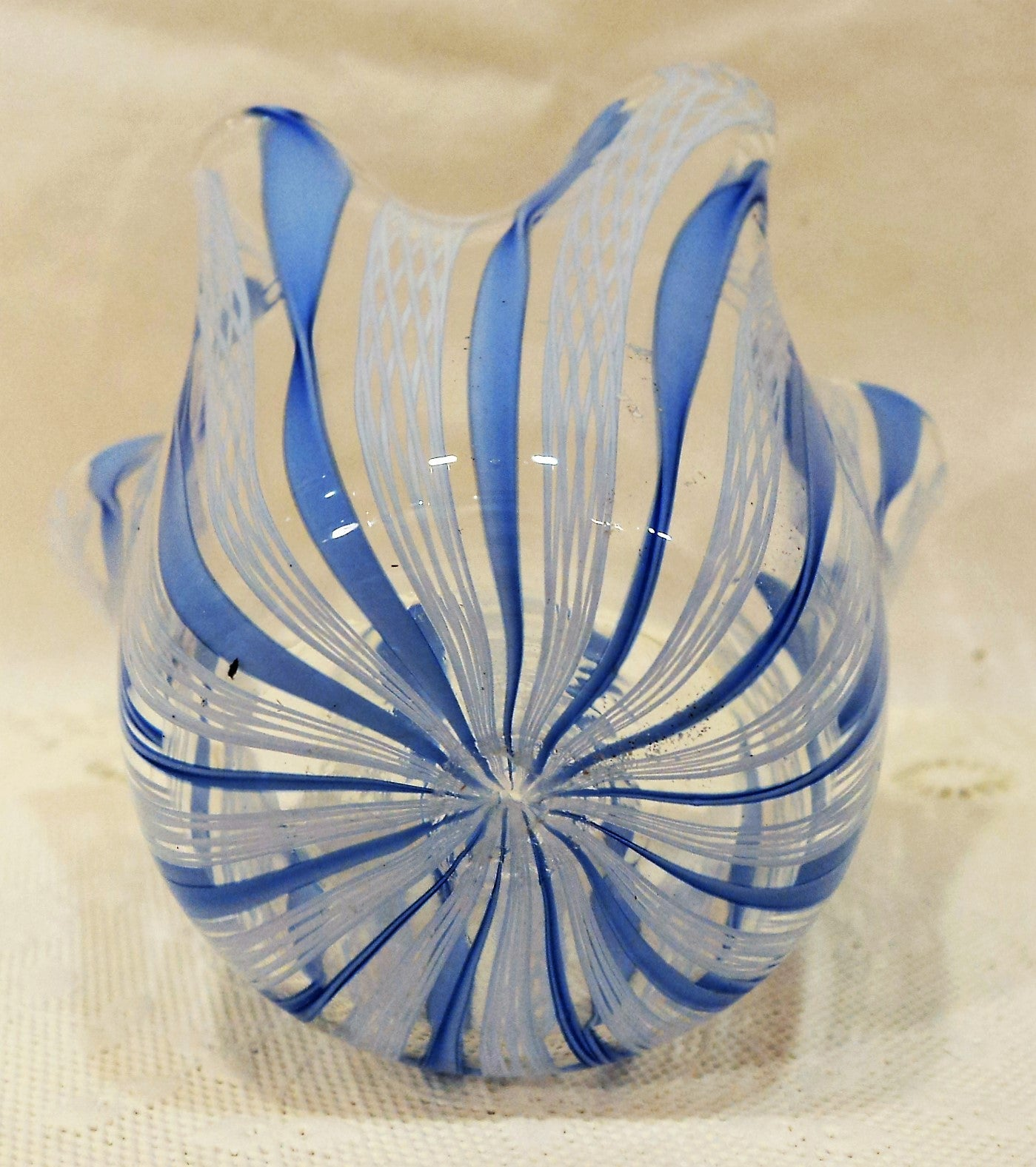 Blue Venini Art Glass Murano Handkerchief Vase