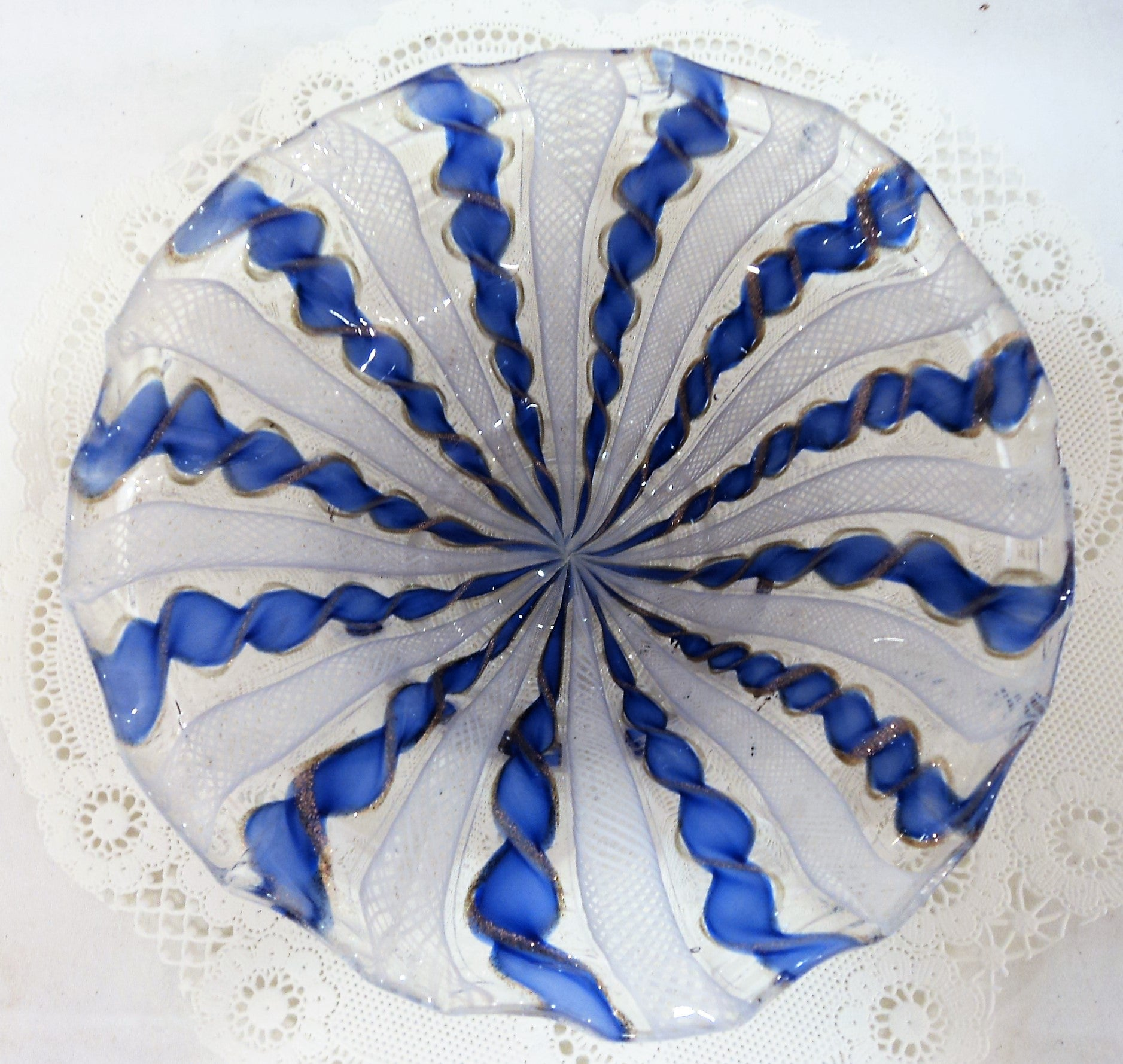 Blue Murano Footed Dish