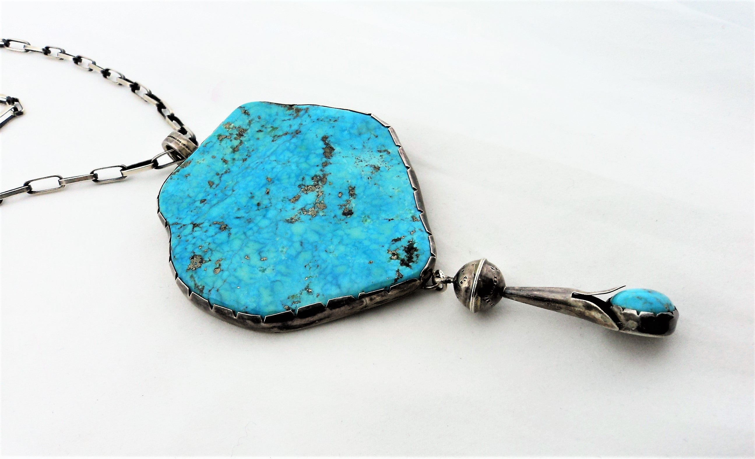 Large Morenci Turquoise and Sterling Silver Necklace