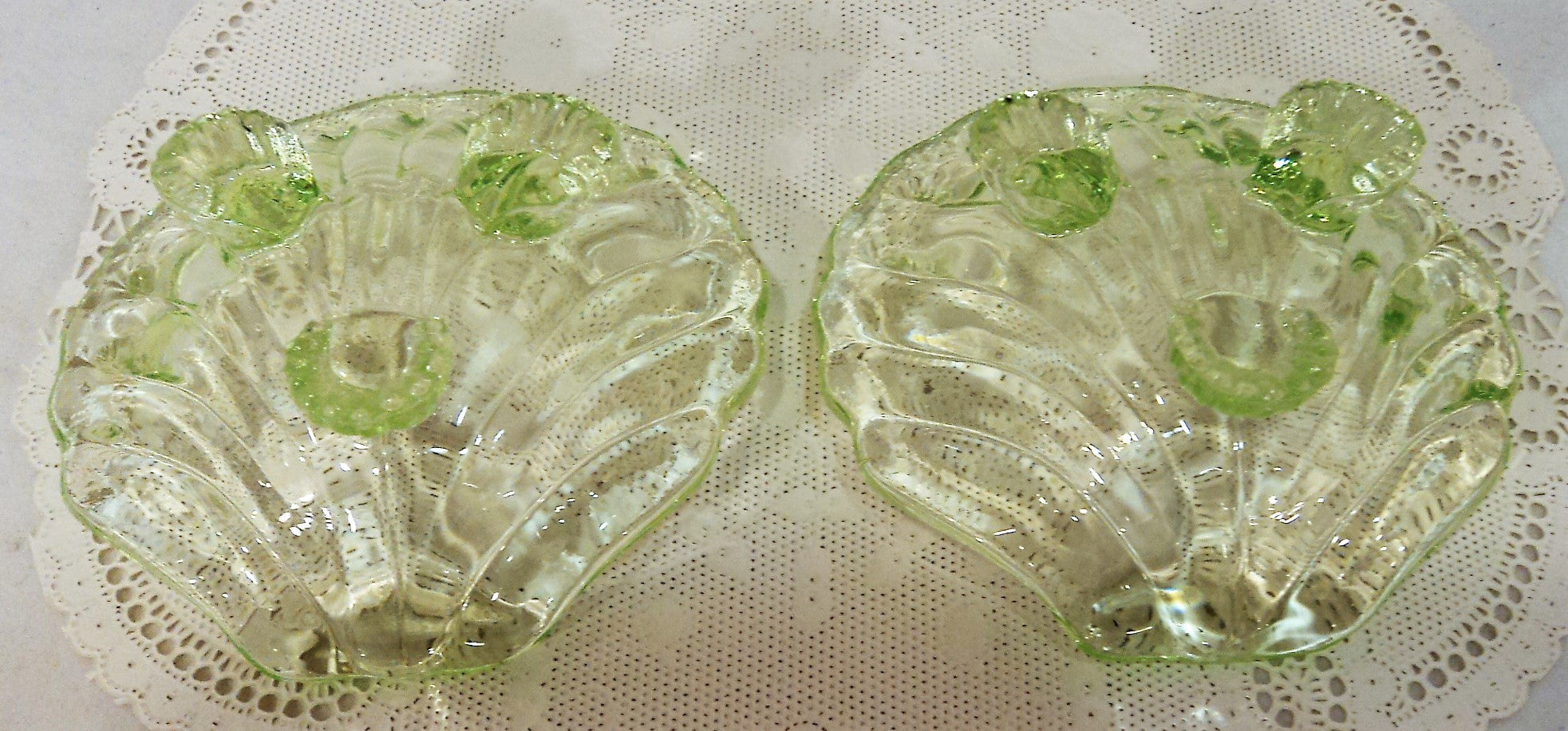 Vaseline Glass Shell-Shaped Open Salt Dish