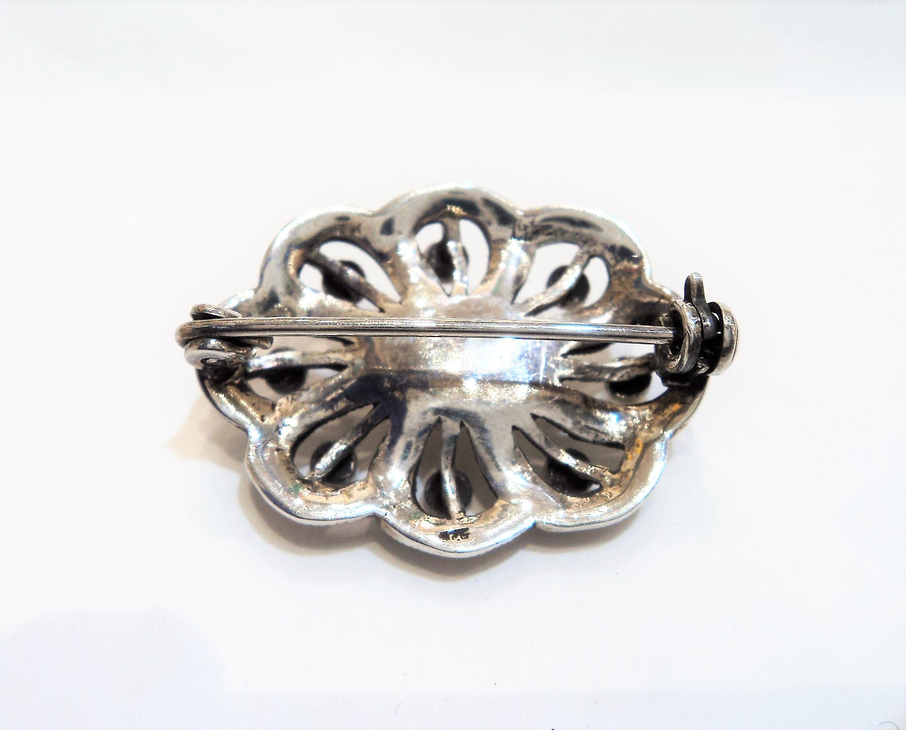 Sterling Silver and Marcasite Brooch