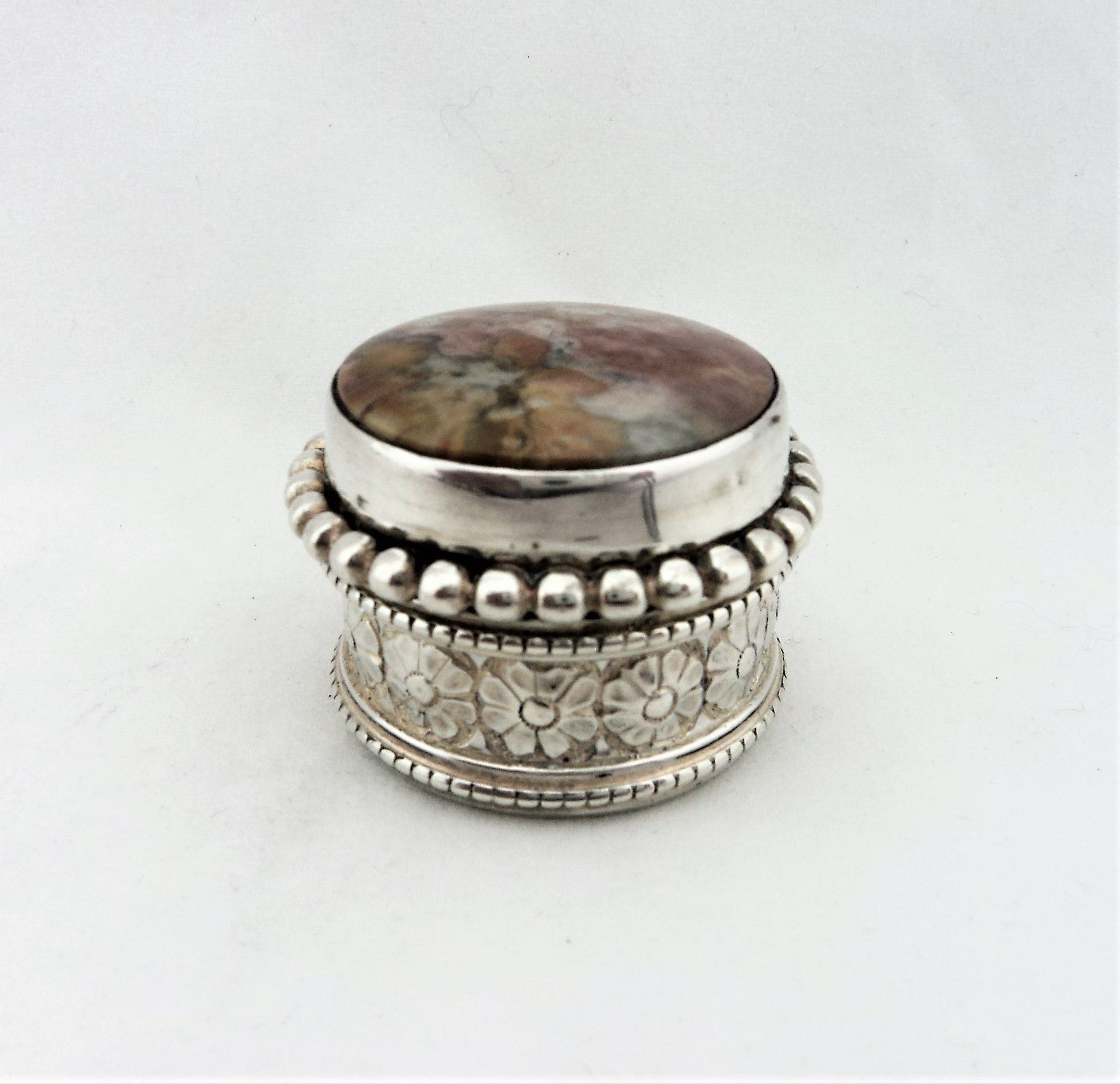 Sterling Silver Repousse and Pink Stone  Trinket Box