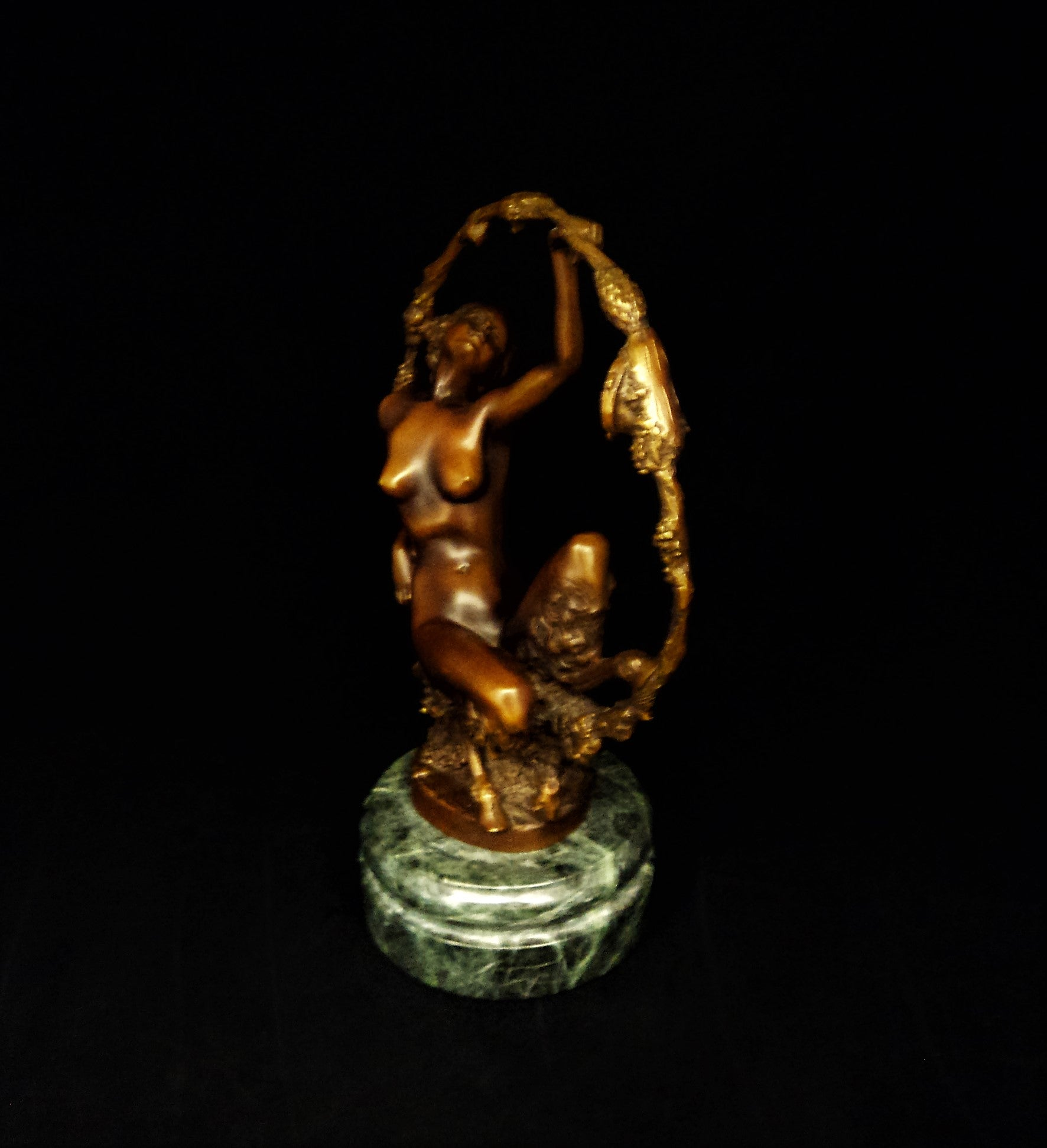 Art Deco Satyress Bronze Sculpture