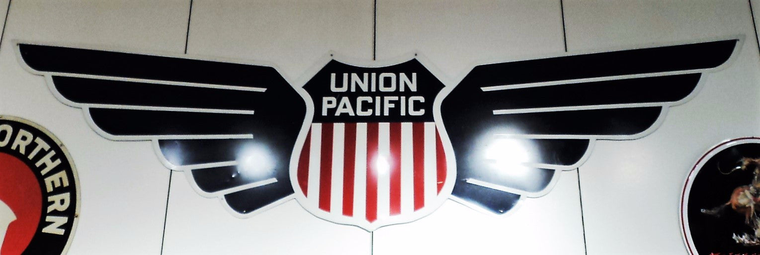 Vintage Union Pacific Tin Winged Sign