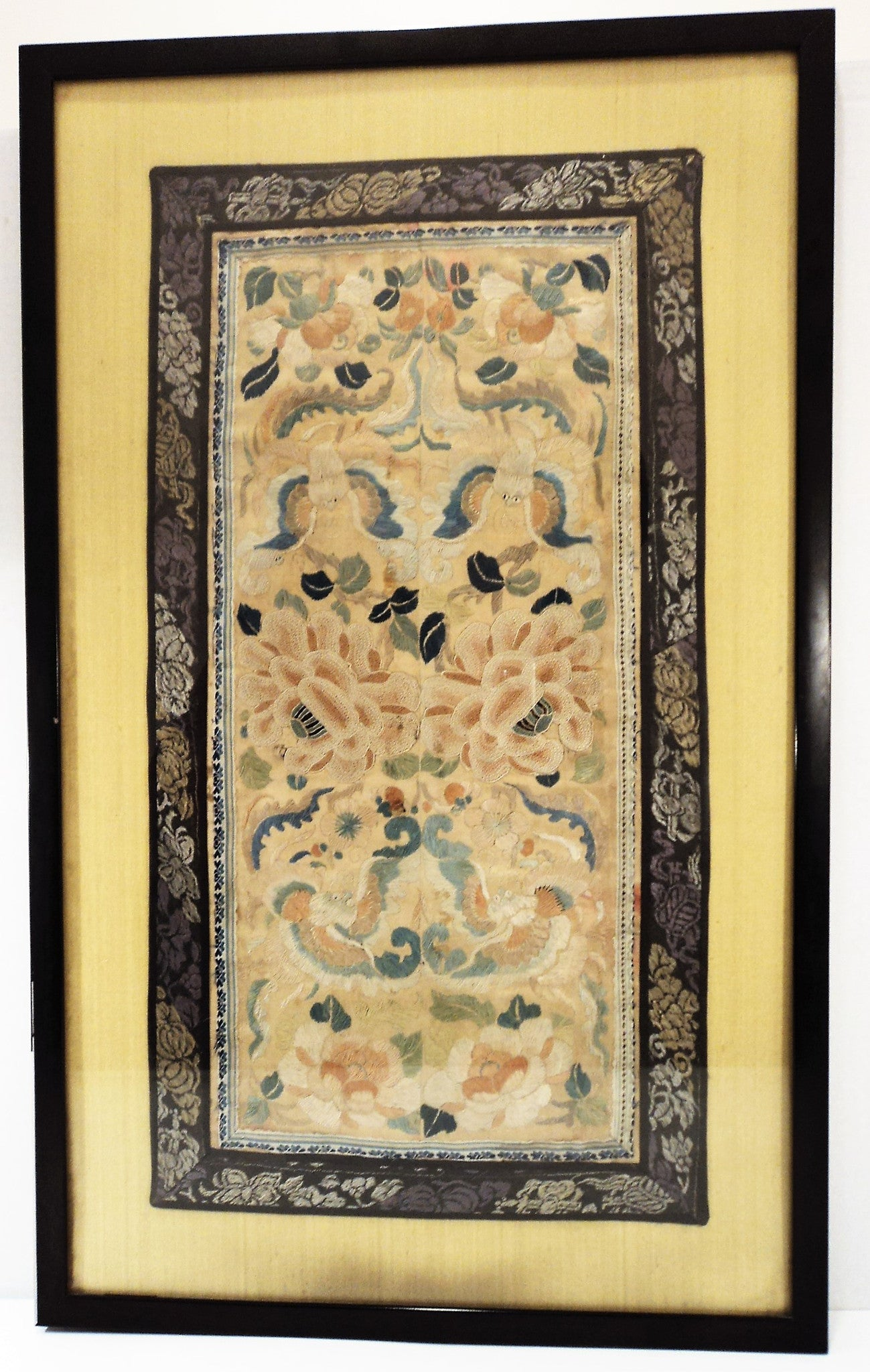 Asian Framed Embroidered Silk Panel