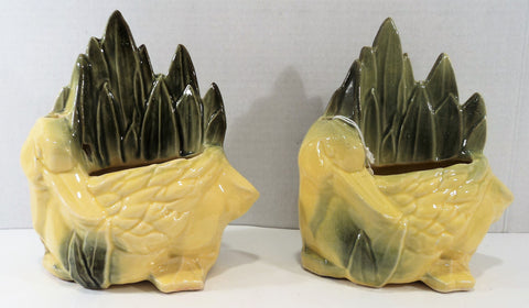 Vintage McCoy Duck Pottery Planter Pair