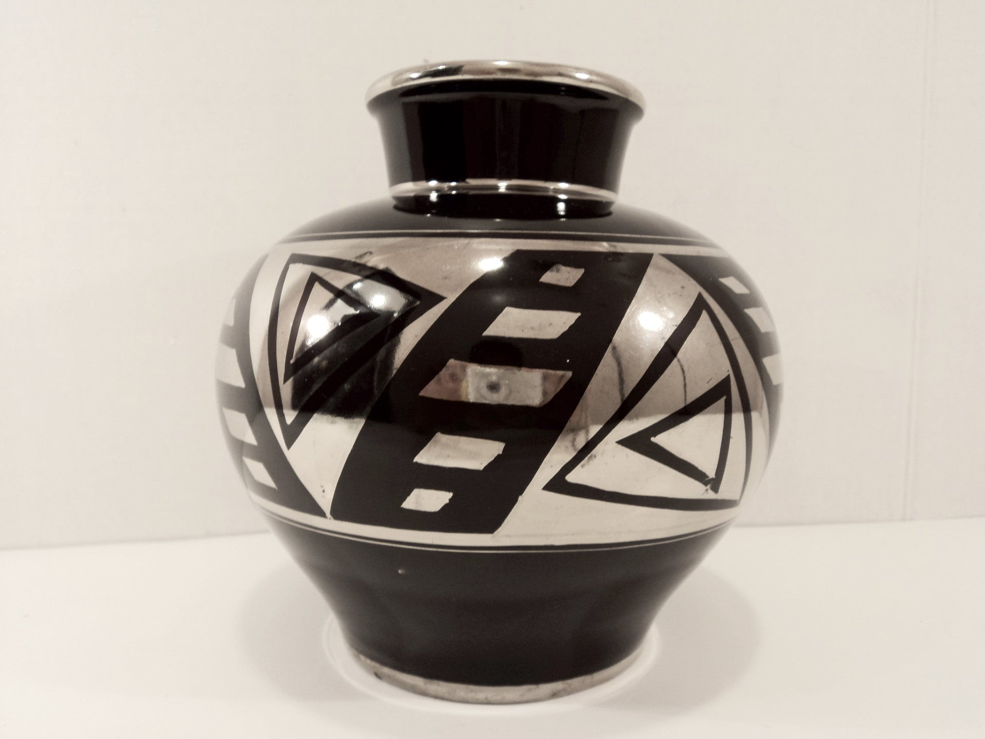 Art Deco French ODYV Black & Silver Ceramic Vase