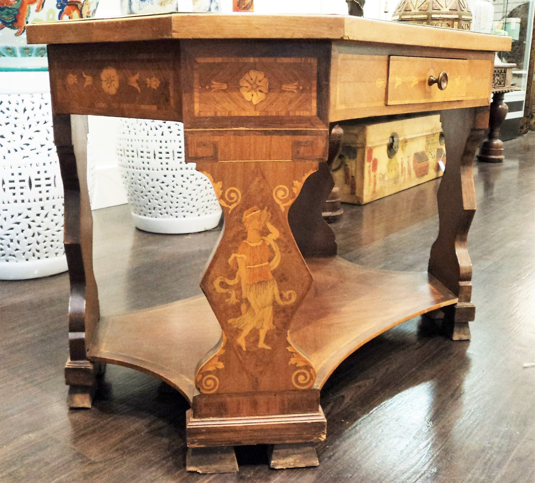 Neoclassical Vintage Marquetry Table