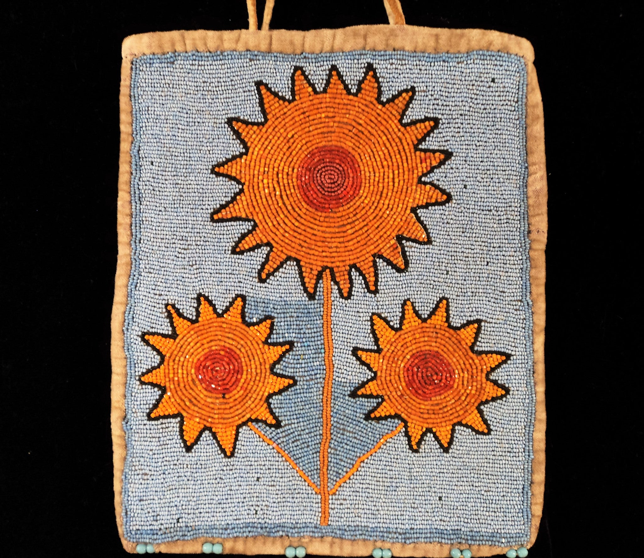Native American Plains Indian Beaded Velvet Bag with Flowers
