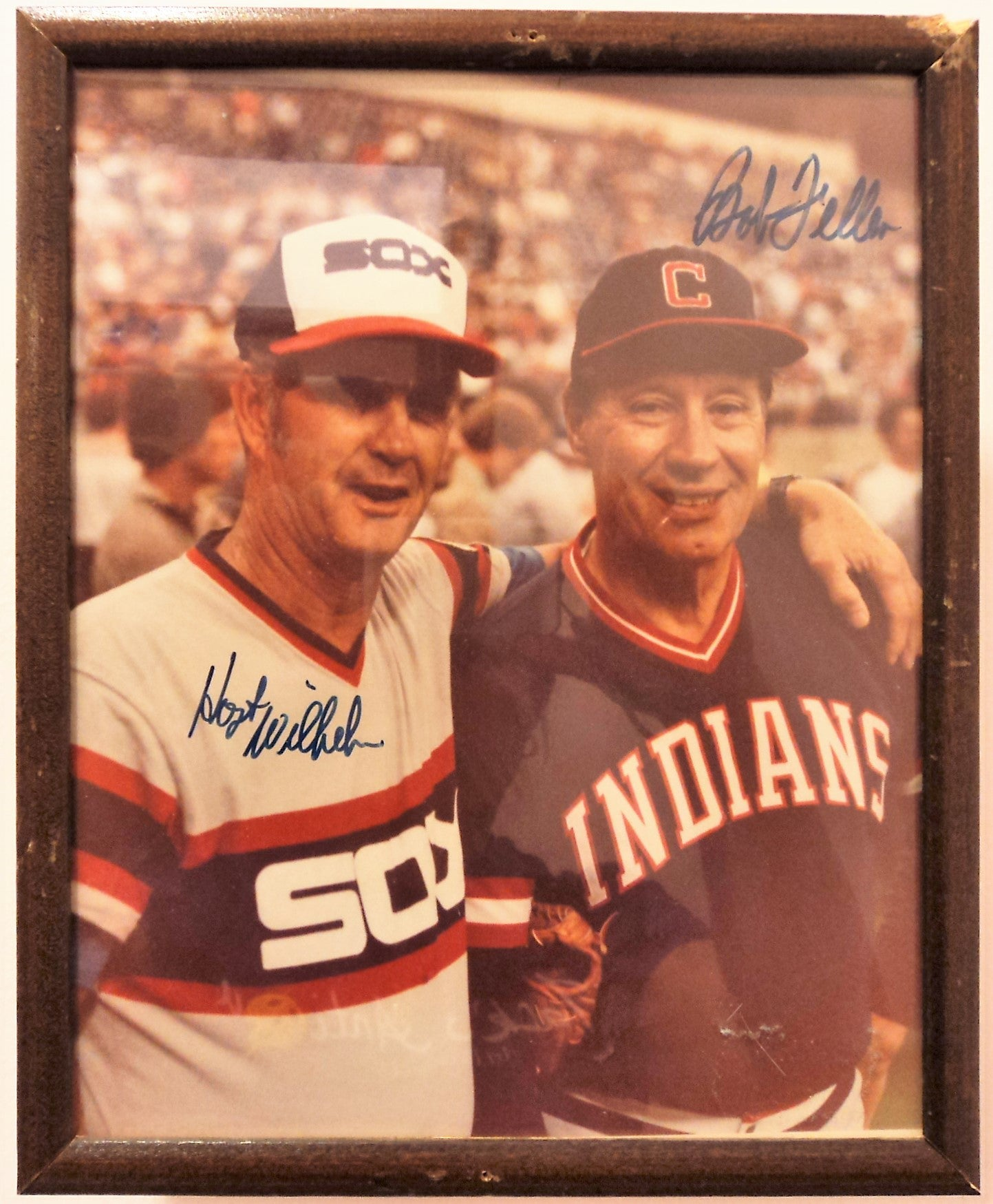 Autographed Baseball Photo of Hoyt Wilhelm and Bob Feller