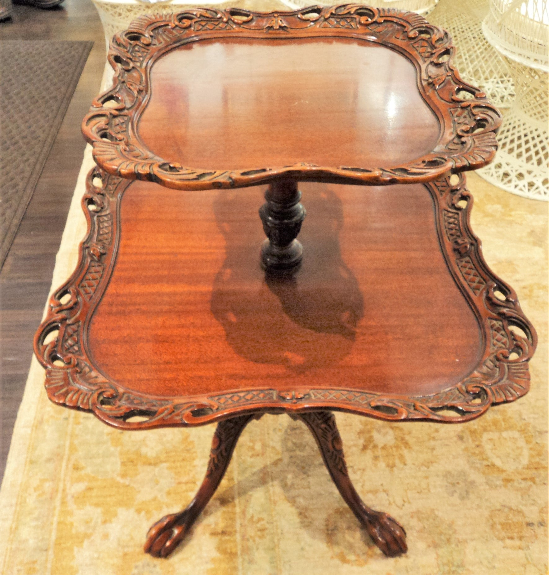 Chippendale Design Tiered Parlor Table