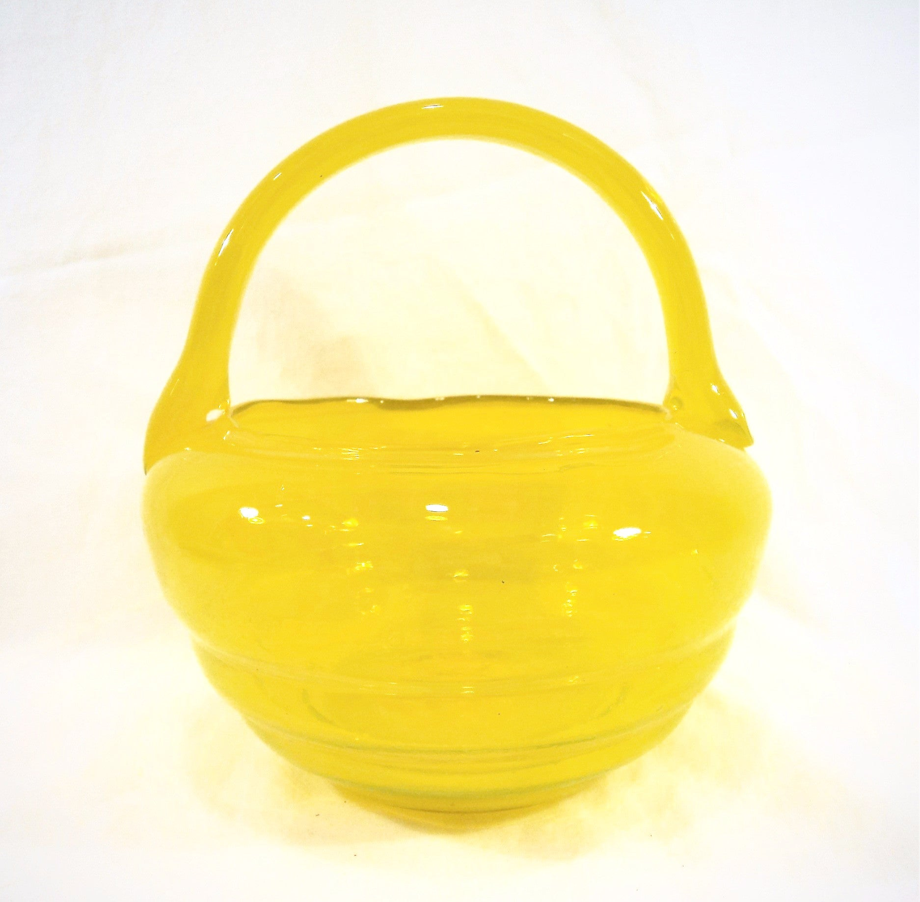 Intense Yellow Art Glass Basket