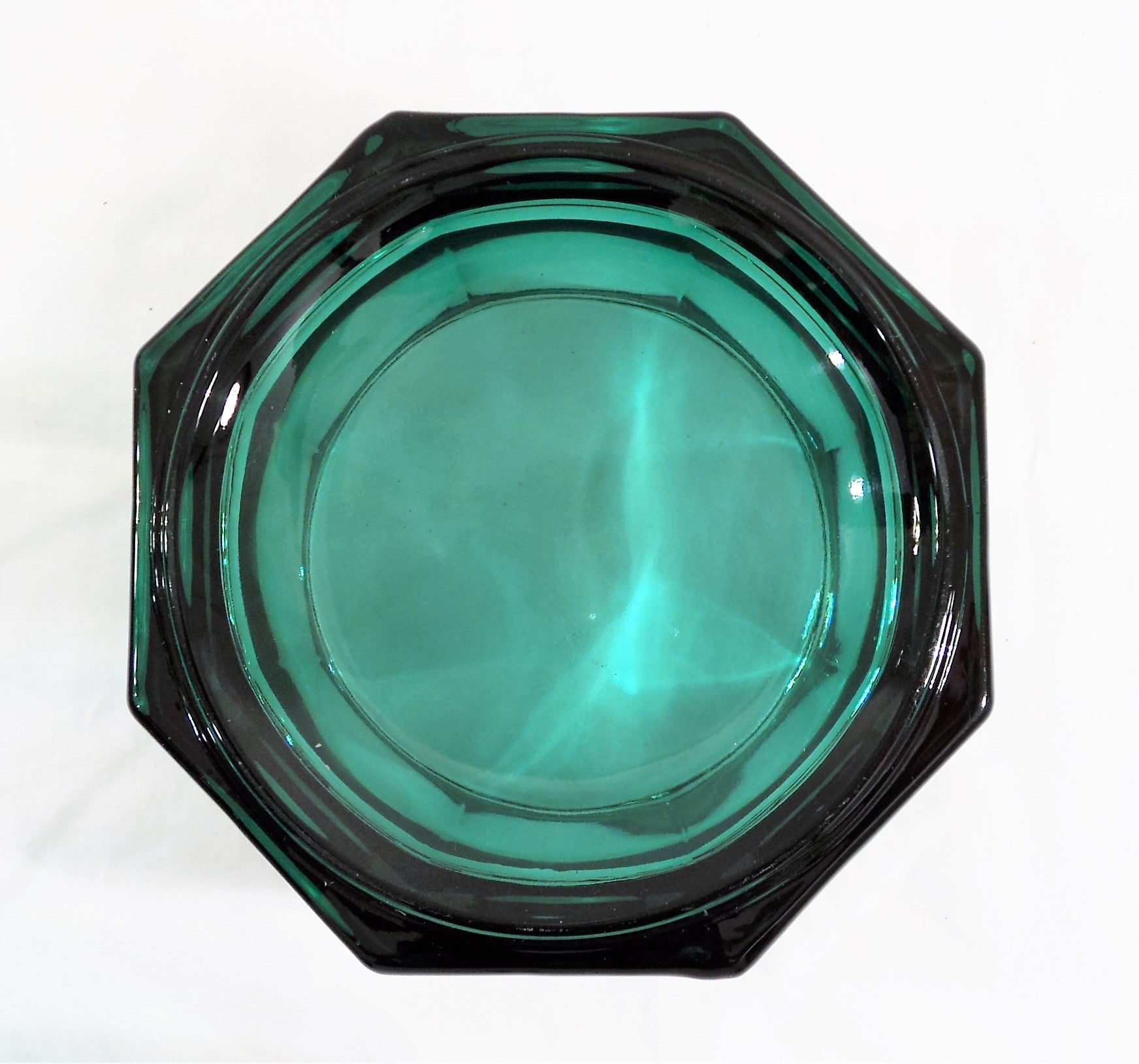 Hexagonal Teal Glass Covered Candy Dish