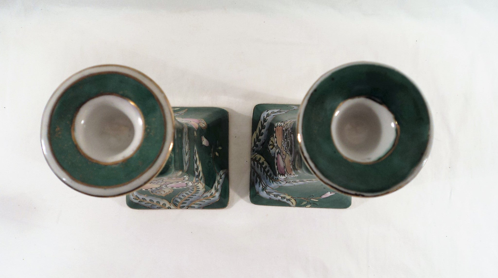 Vintage Ceramic Chinese Candlestick pair