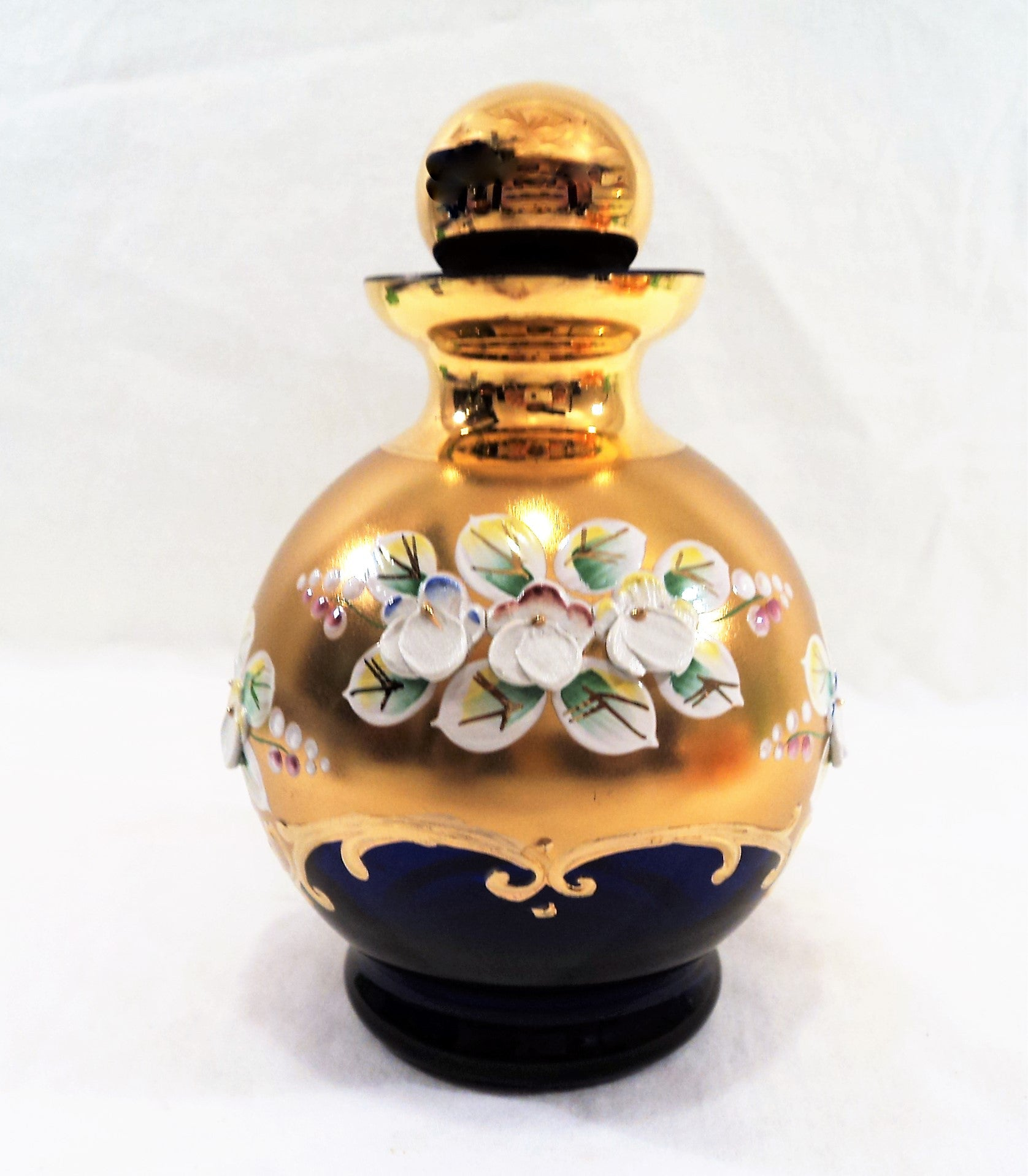 Vintage BohemianCobalt Blue High-Enamel Perfume Bottle